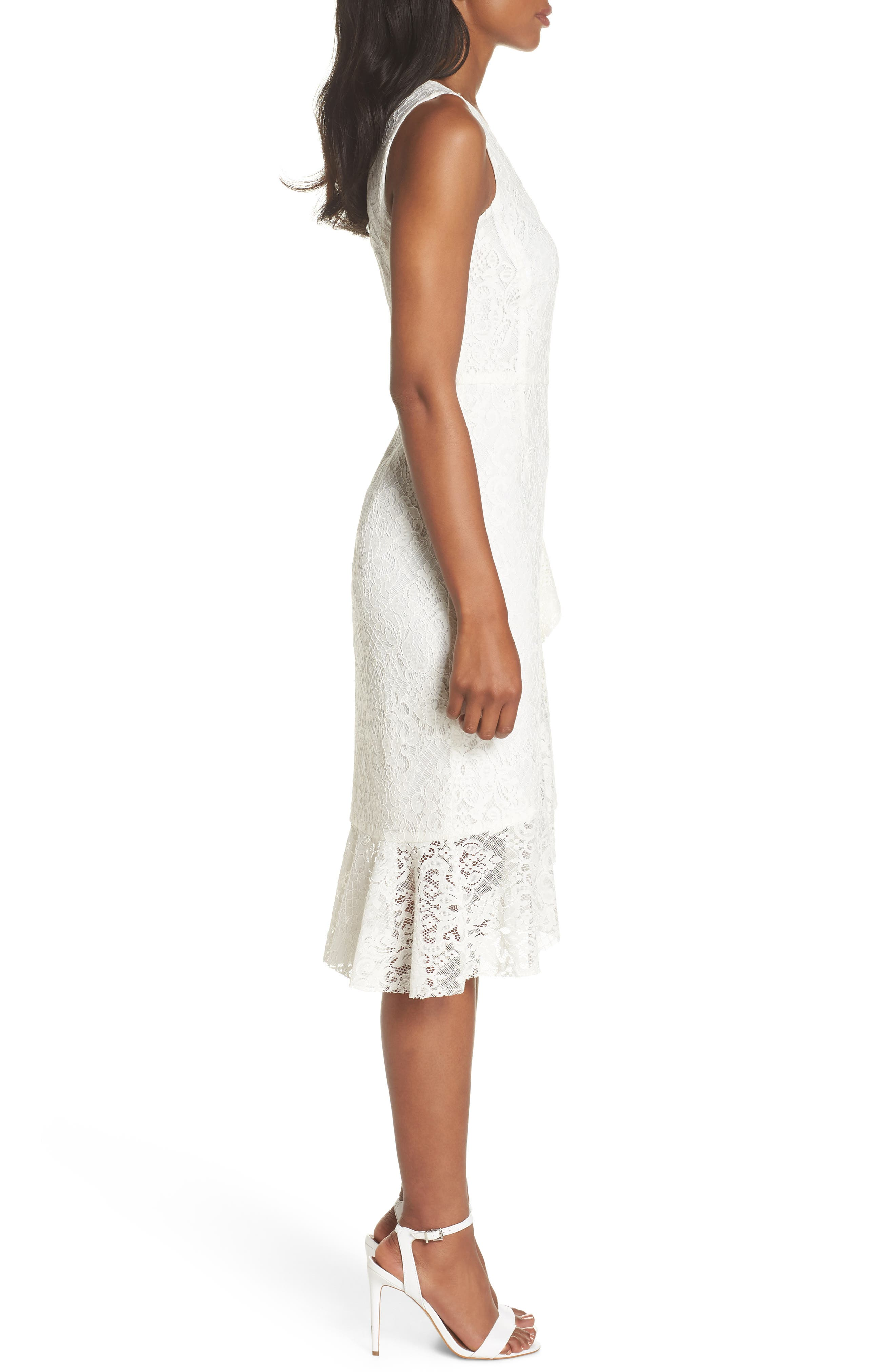 Ruffle Lace Dress,                             Alternate thumbnail 3, color,                             Off White