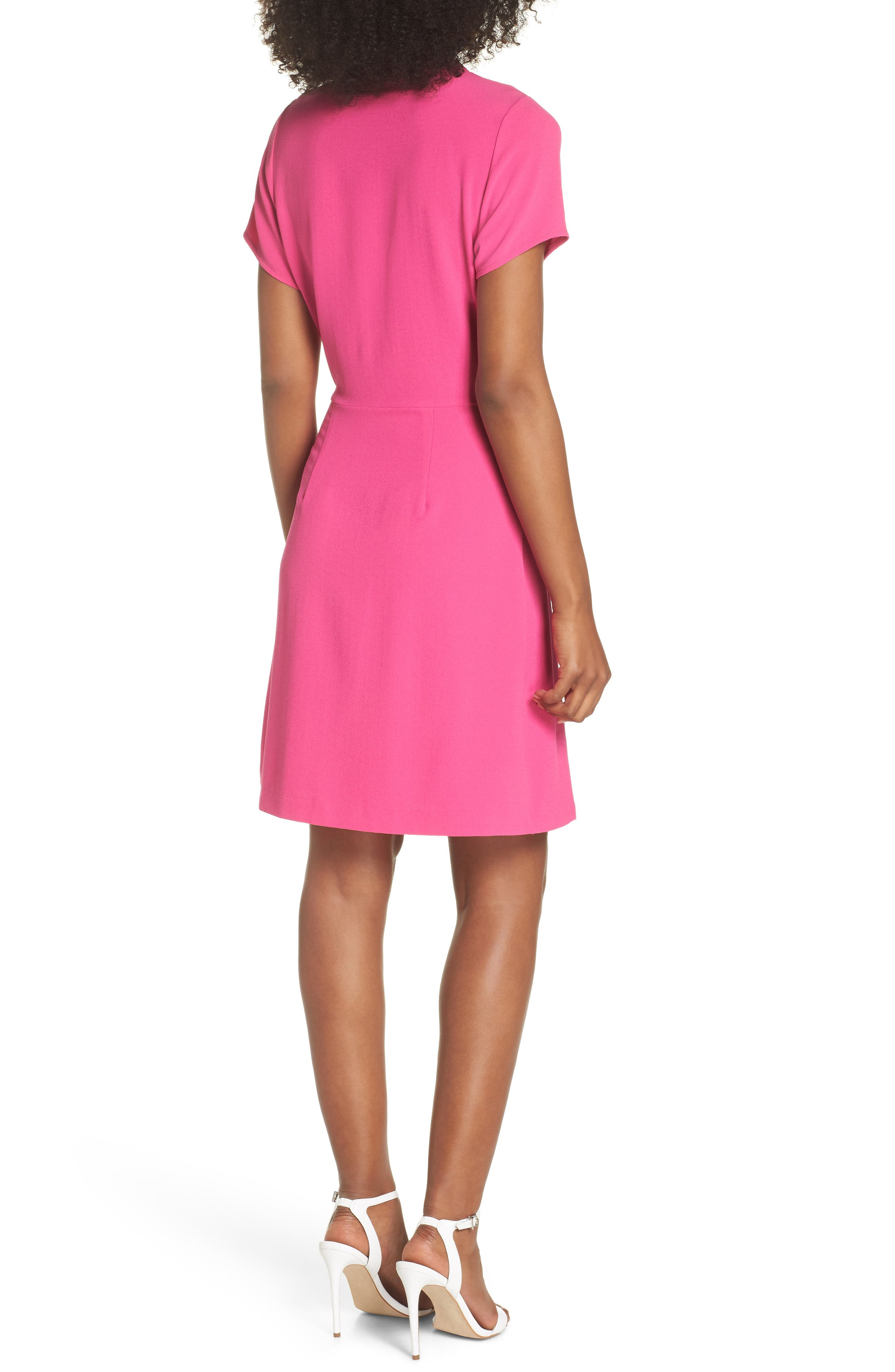 Tie Front Sheath Dress,                             Alternate thumbnail 2, color,                             Hot Pink