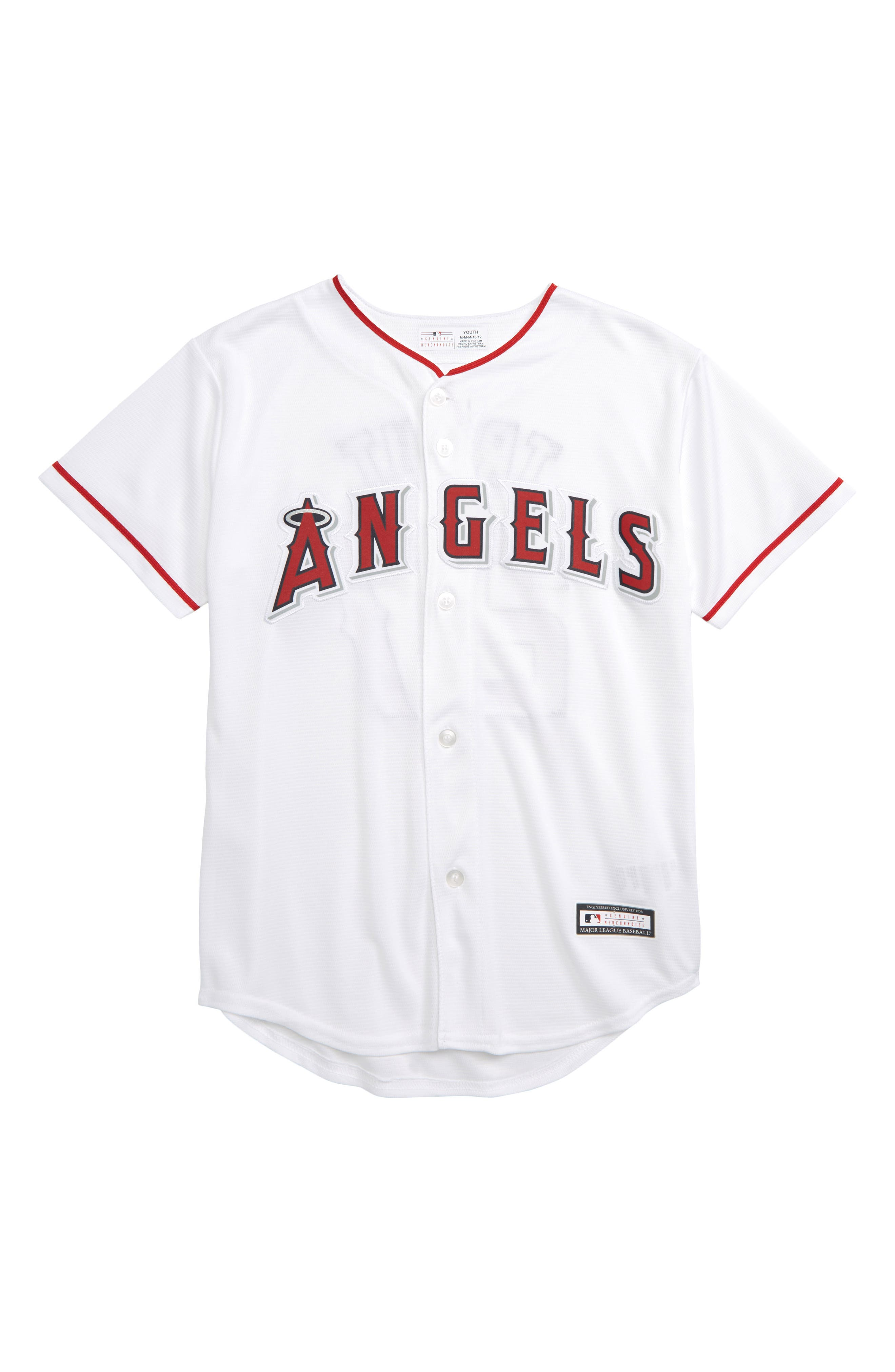 Los Angeles Angels - Mike Trout Baseball Jersey,                             Main thumbnail 1, color,                             White