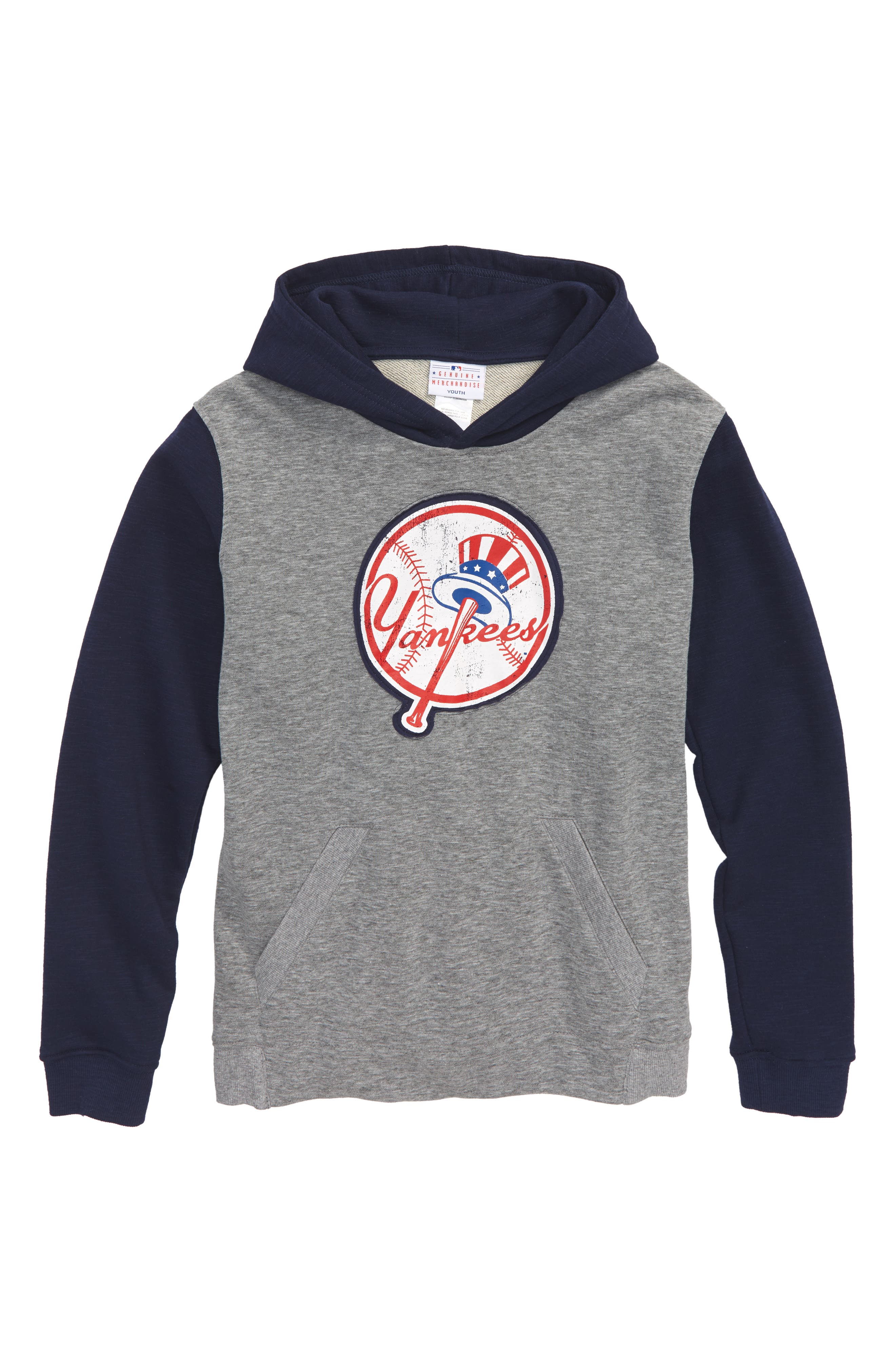 New Beginnings - New York Yankees Pullover Hoodie,                             Main thumbnail 1, color,                             Gray