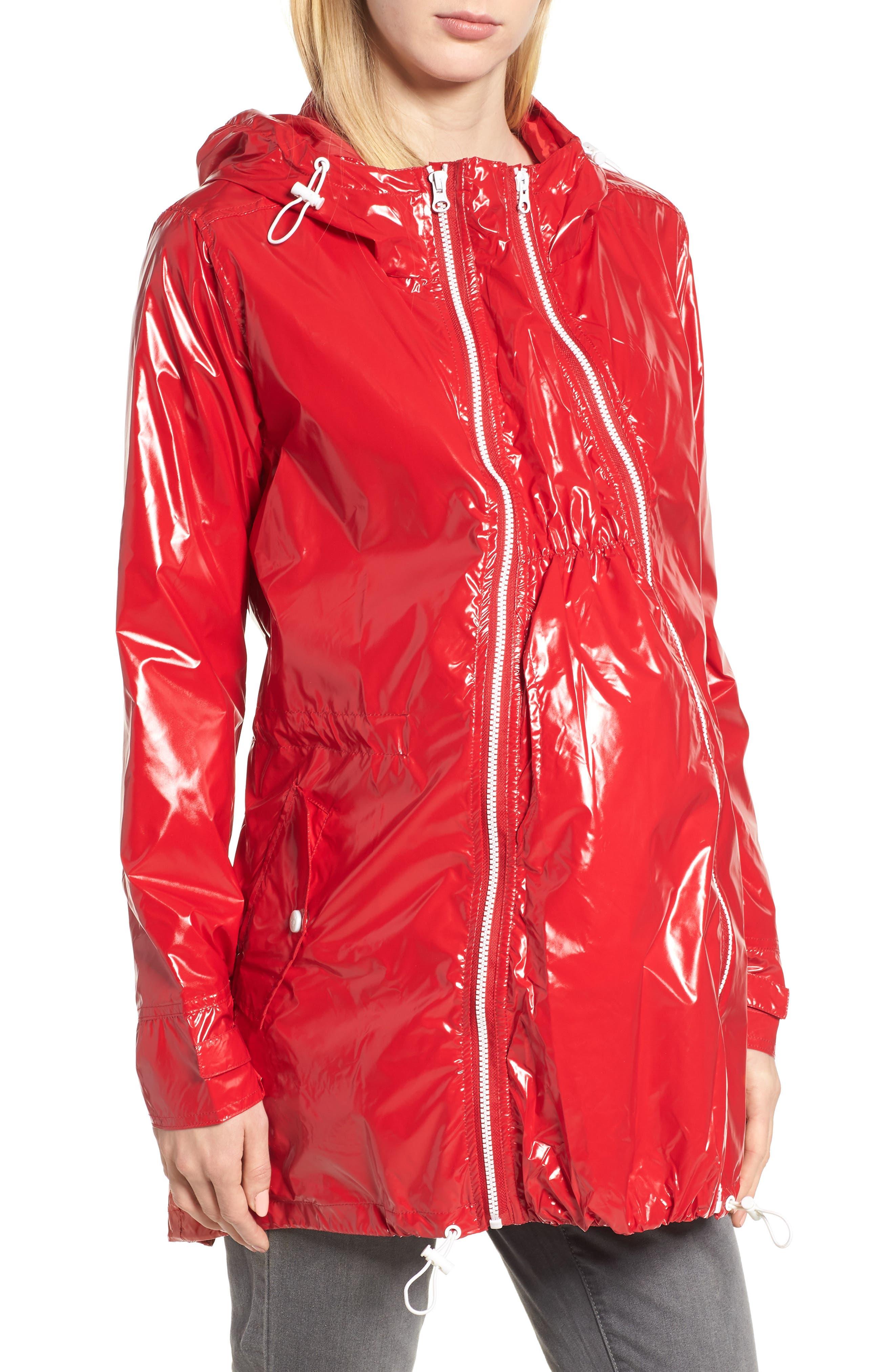 Waterproof Convertible 3-in-1 Maternity Raincoat,                             Main thumbnail 1, color,                             Red