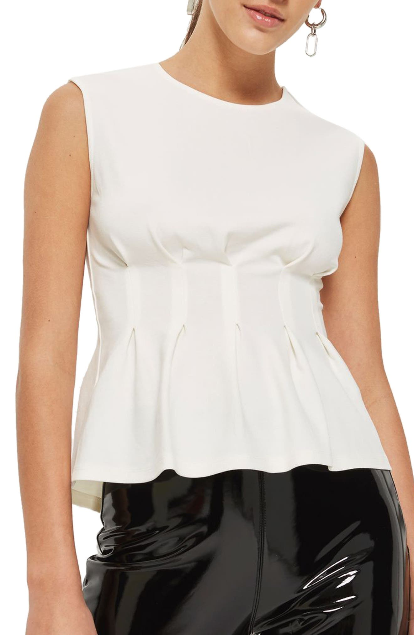 Cinched Waist Sleeveless Blouse,                         Main,                         color, Cream