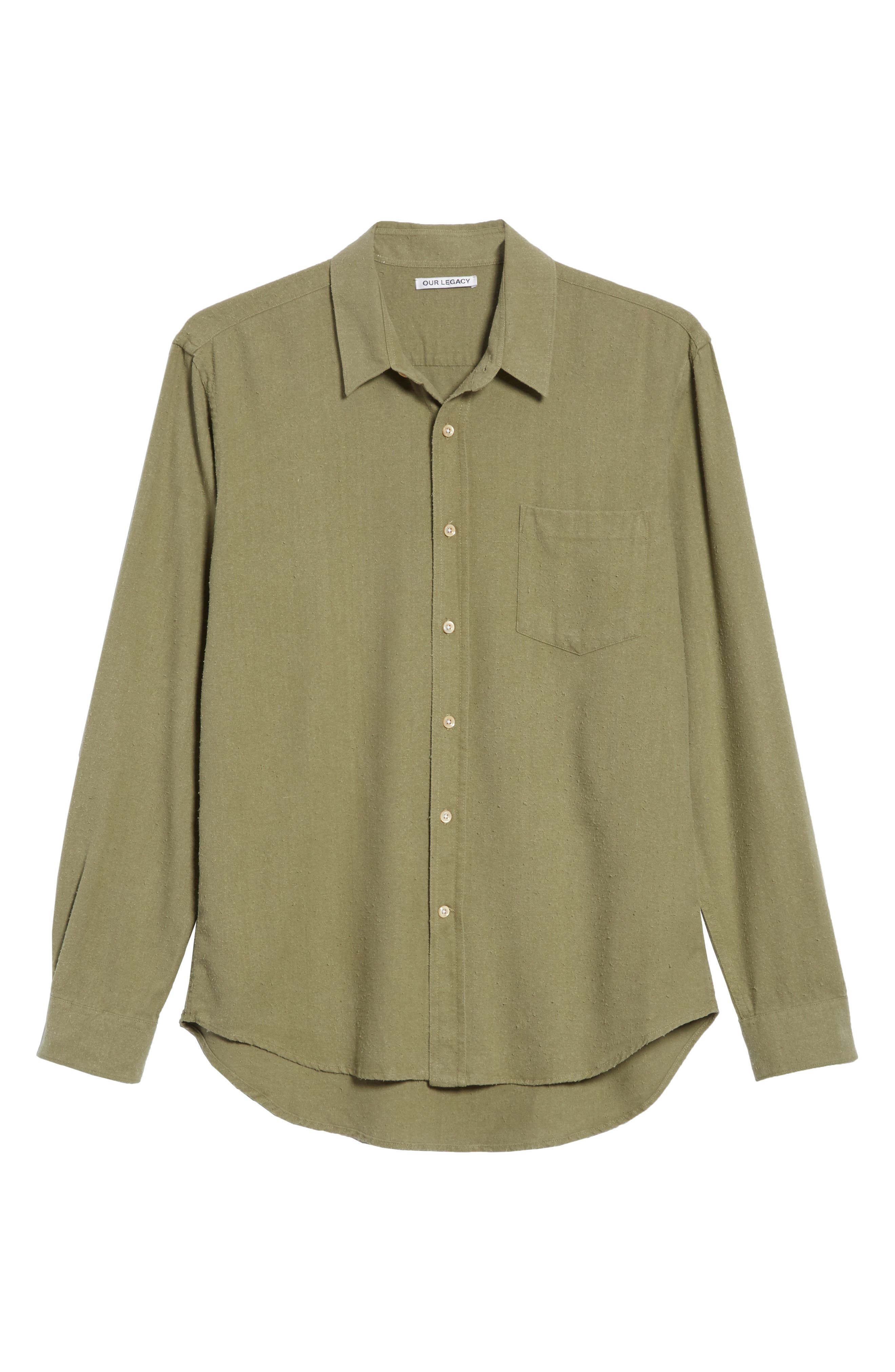 Classic Silk Woven Shirt,                             Alternate thumbnail 6, color,                             Olive