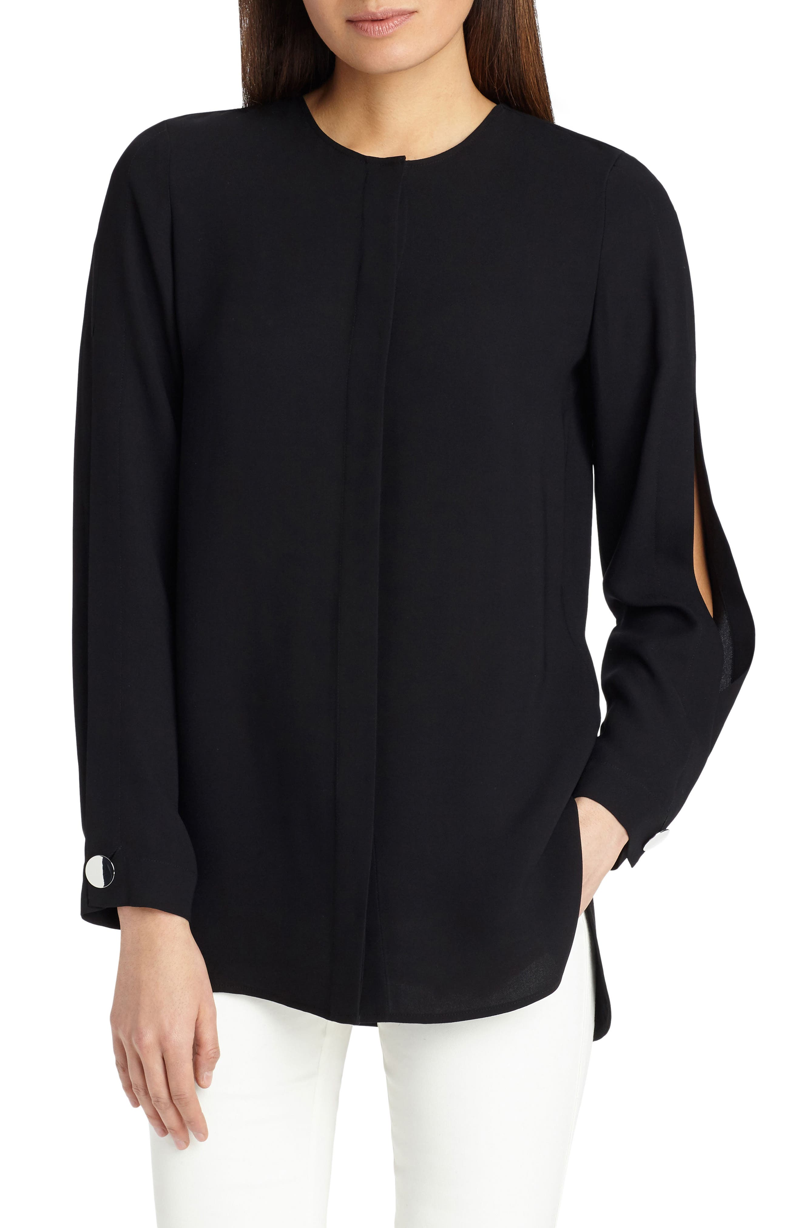 Rowan Double Silk Georgette Blouse,                             Main thumbnail 1, color,                             Black
