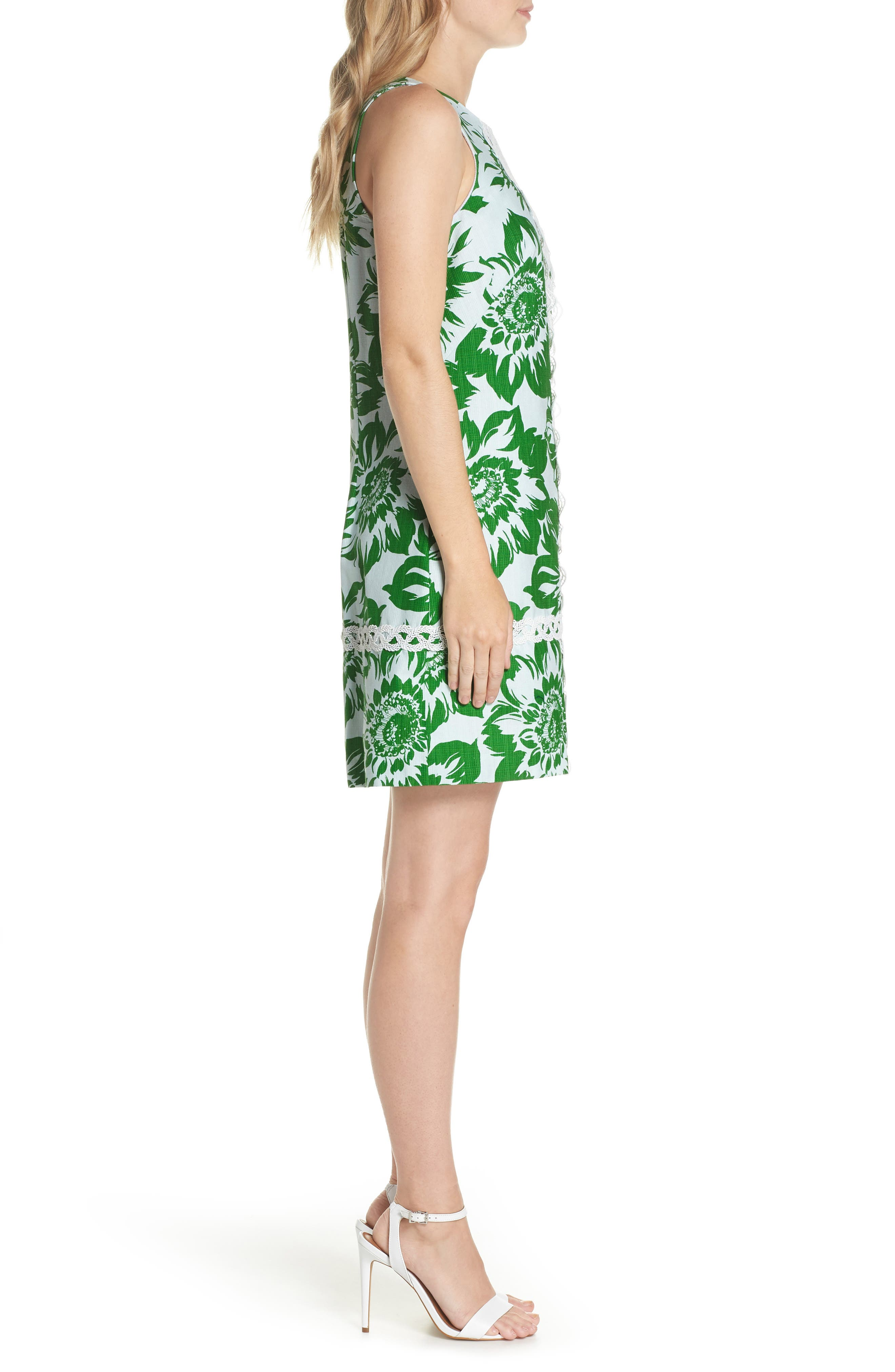 Sleeveless Stretch Cotton Shift Dress,                             Alternate thumbnail 3, color,                             Green