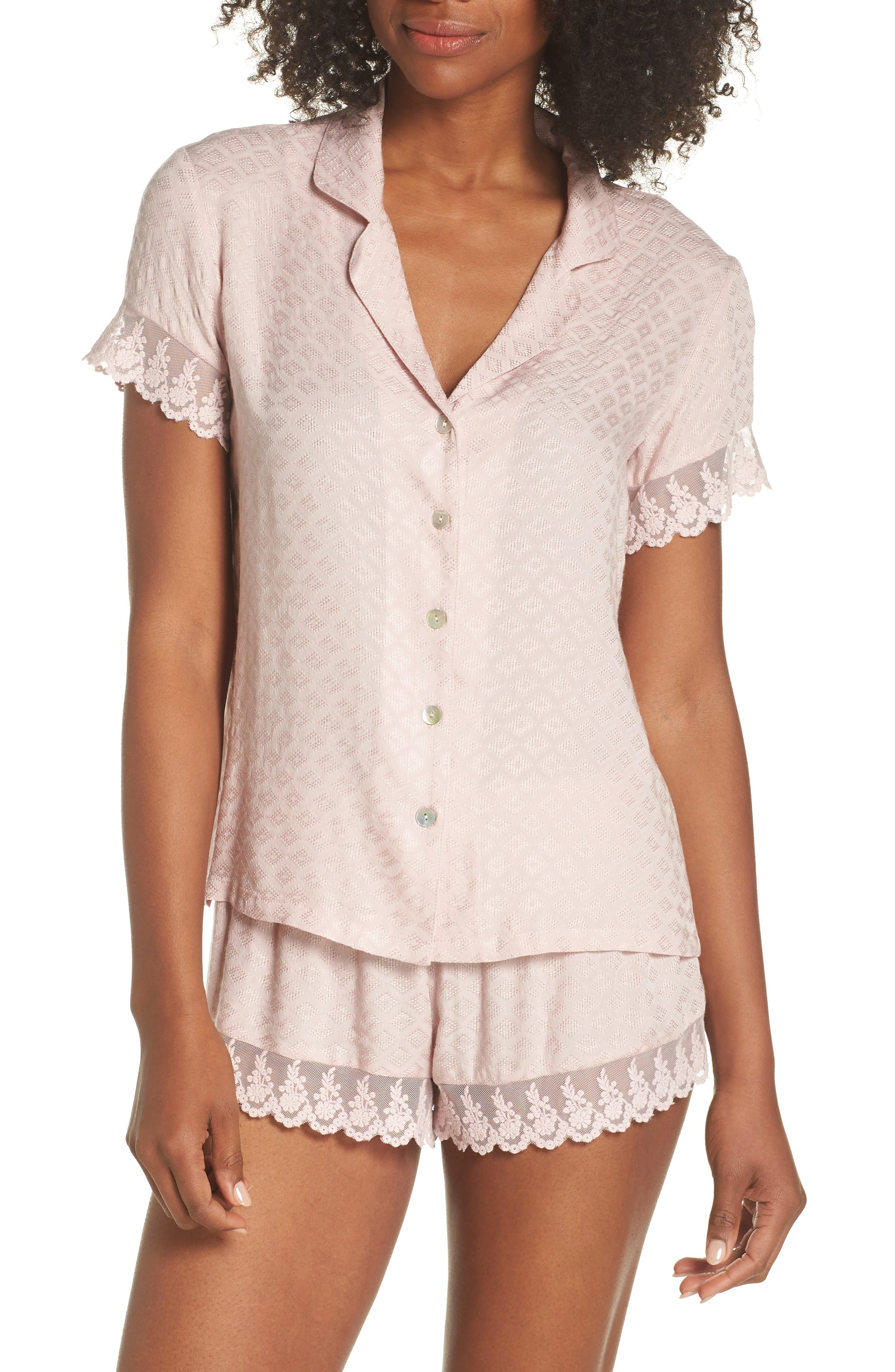 Laurel Short Pajamas,                             Main thumbnail 1, color,                             Sepia Rose