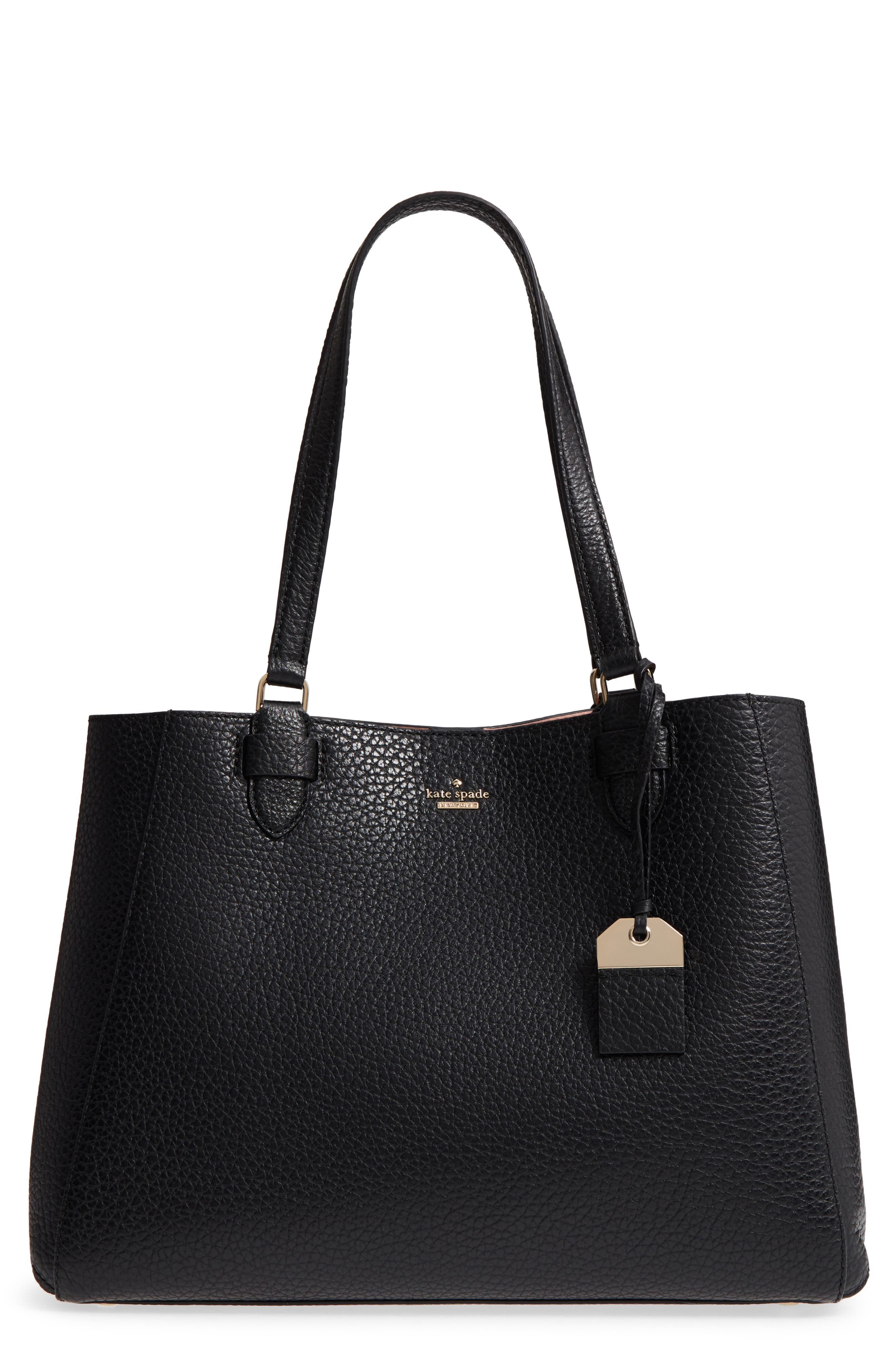 carter street - tyler leather tote,                             Main thumbnail 1, color,                             Black