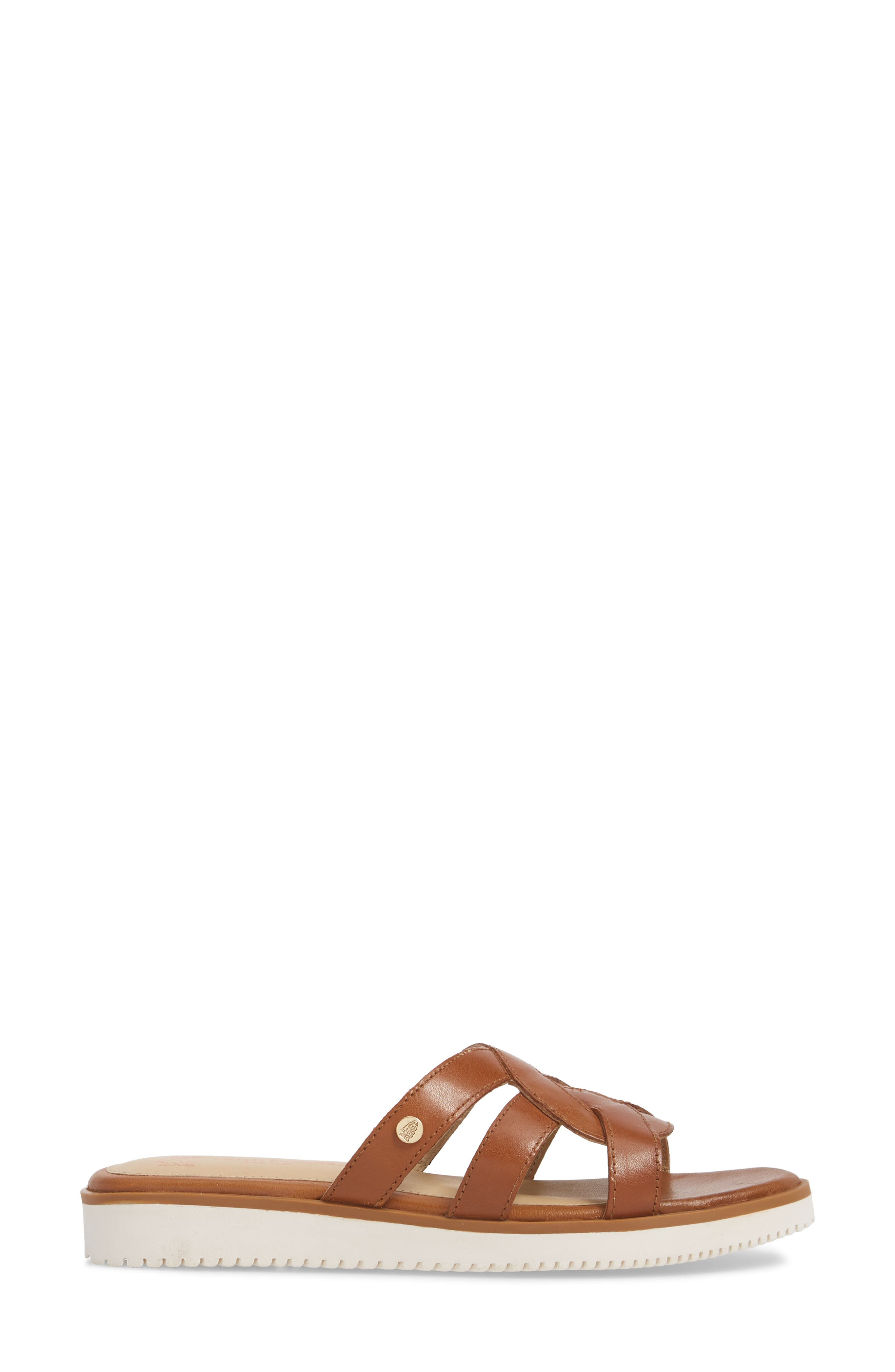 Braid Slide Sandal,                             Alternate thumbnail 3, color,                             Tan Leather