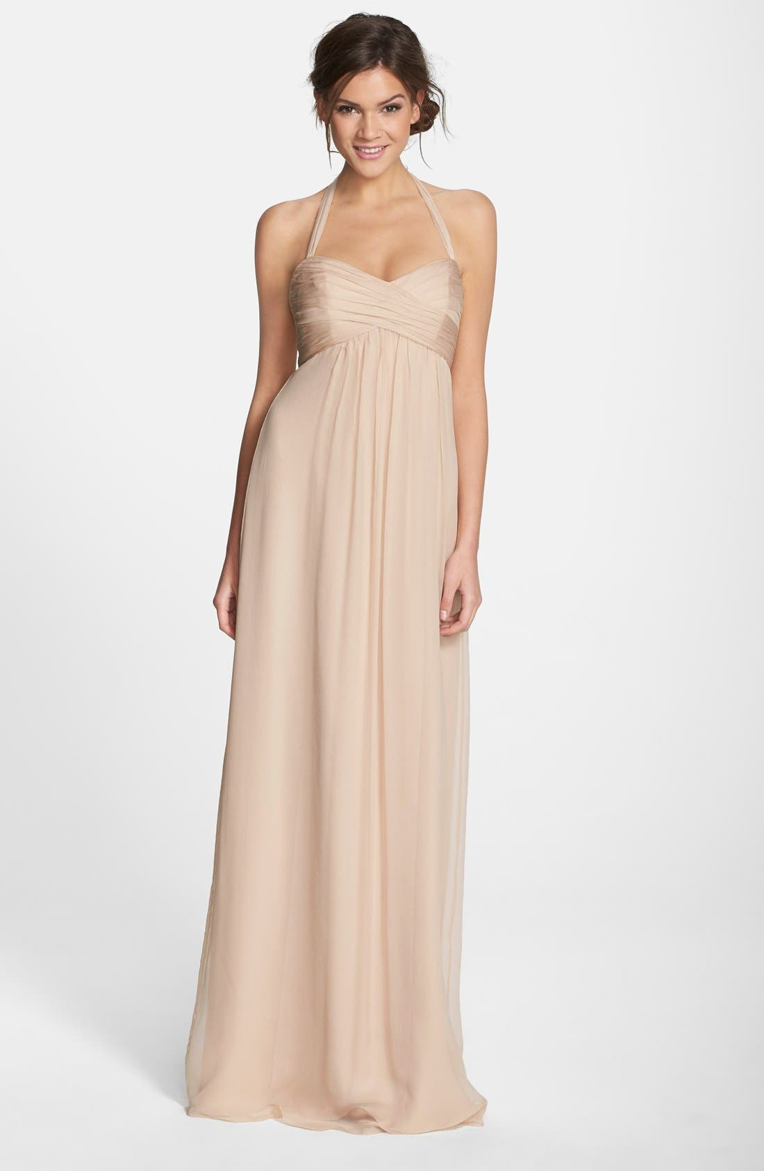 Alternate Image 1 Selected - Amsale Chiffon Halter Gown