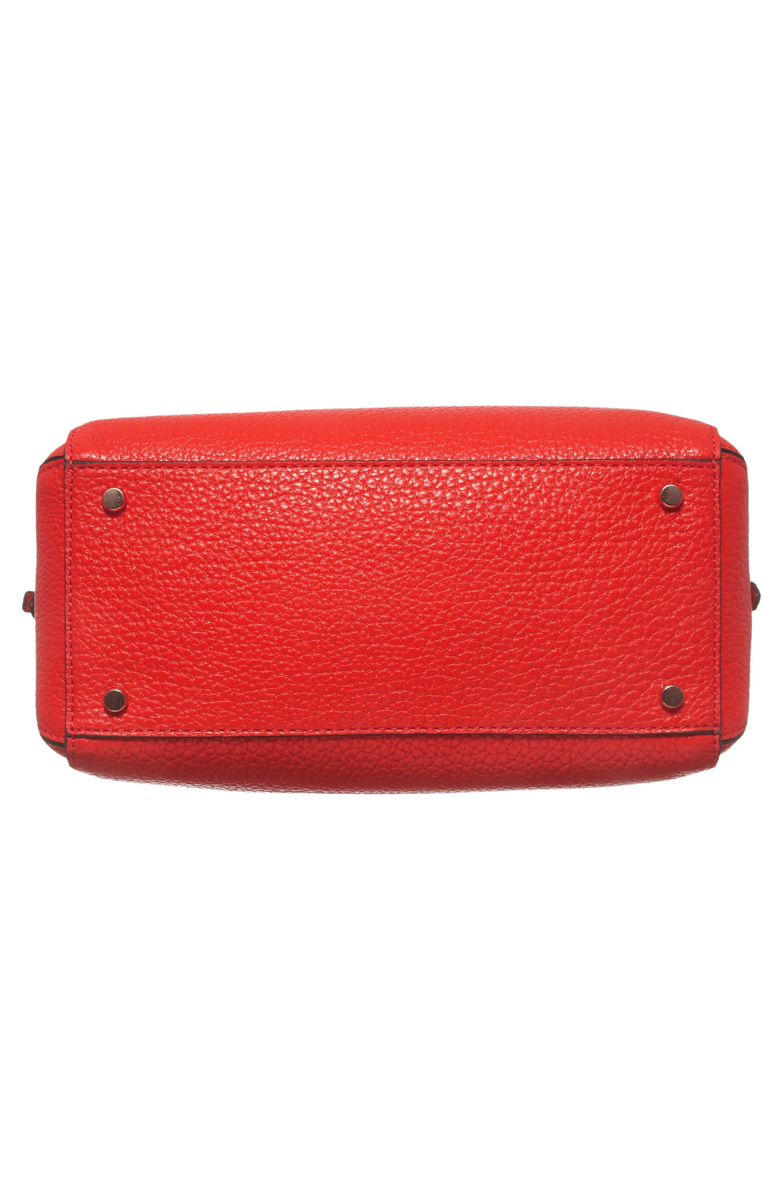 carter street - aliana leather satchel,                             Alternate thumbnail 6, color,                             Picnic Red