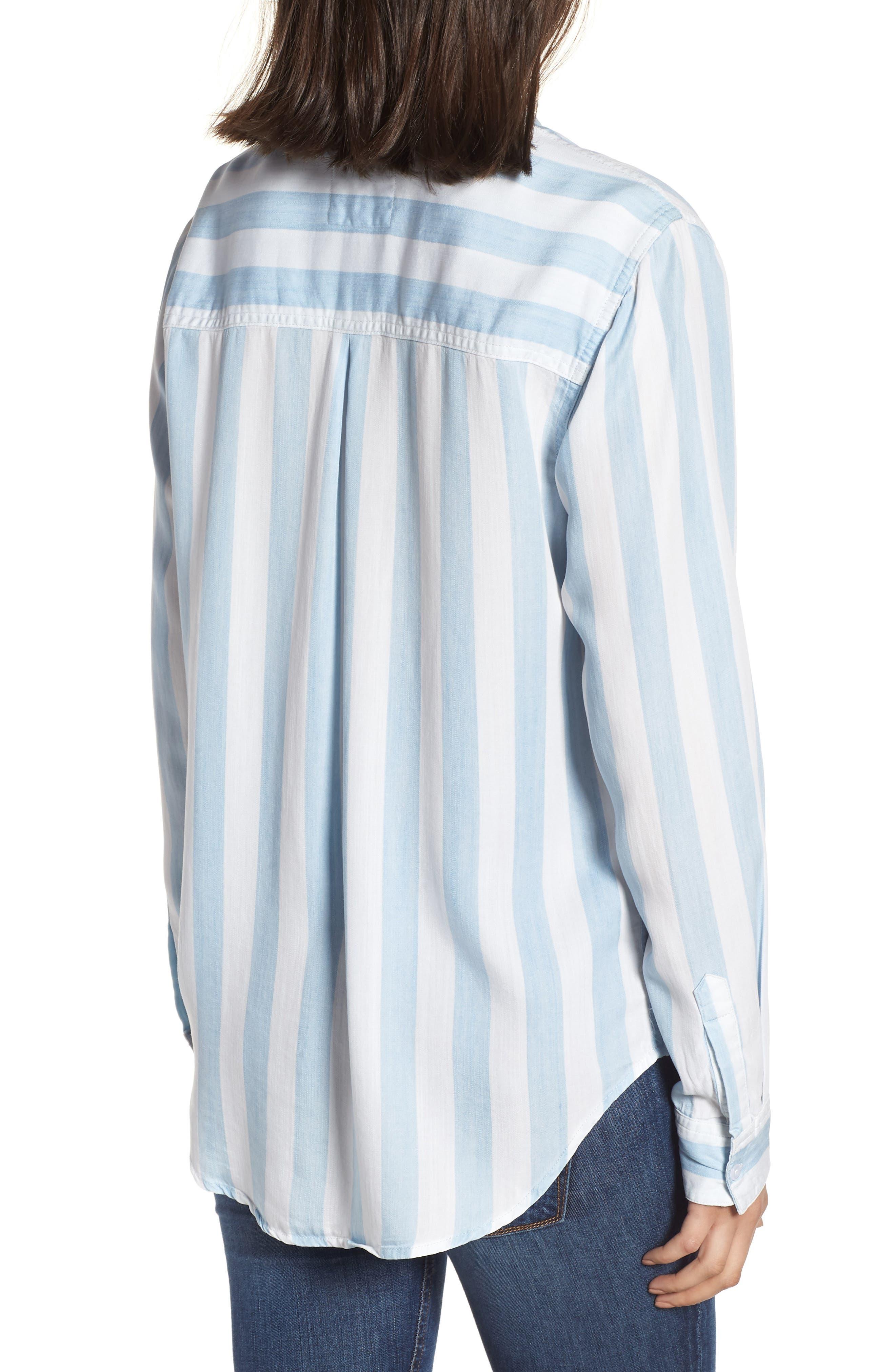 Ingrid Stripe Chambray Shirt,                             Alternate thumbnail 2, color,                             Block Stripe