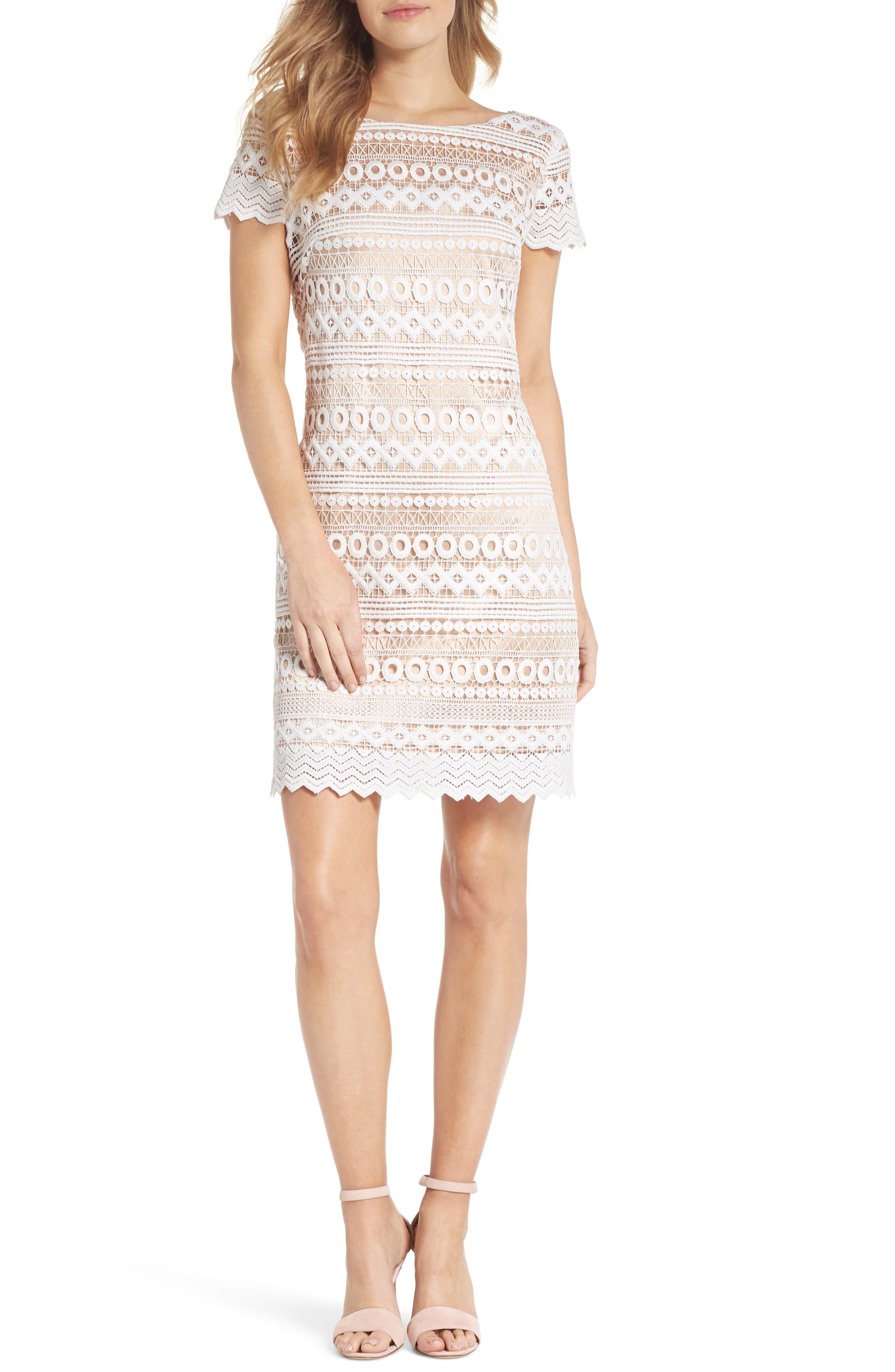 Geo Lace Sheath Dress,                         Main,                         color, Ivory