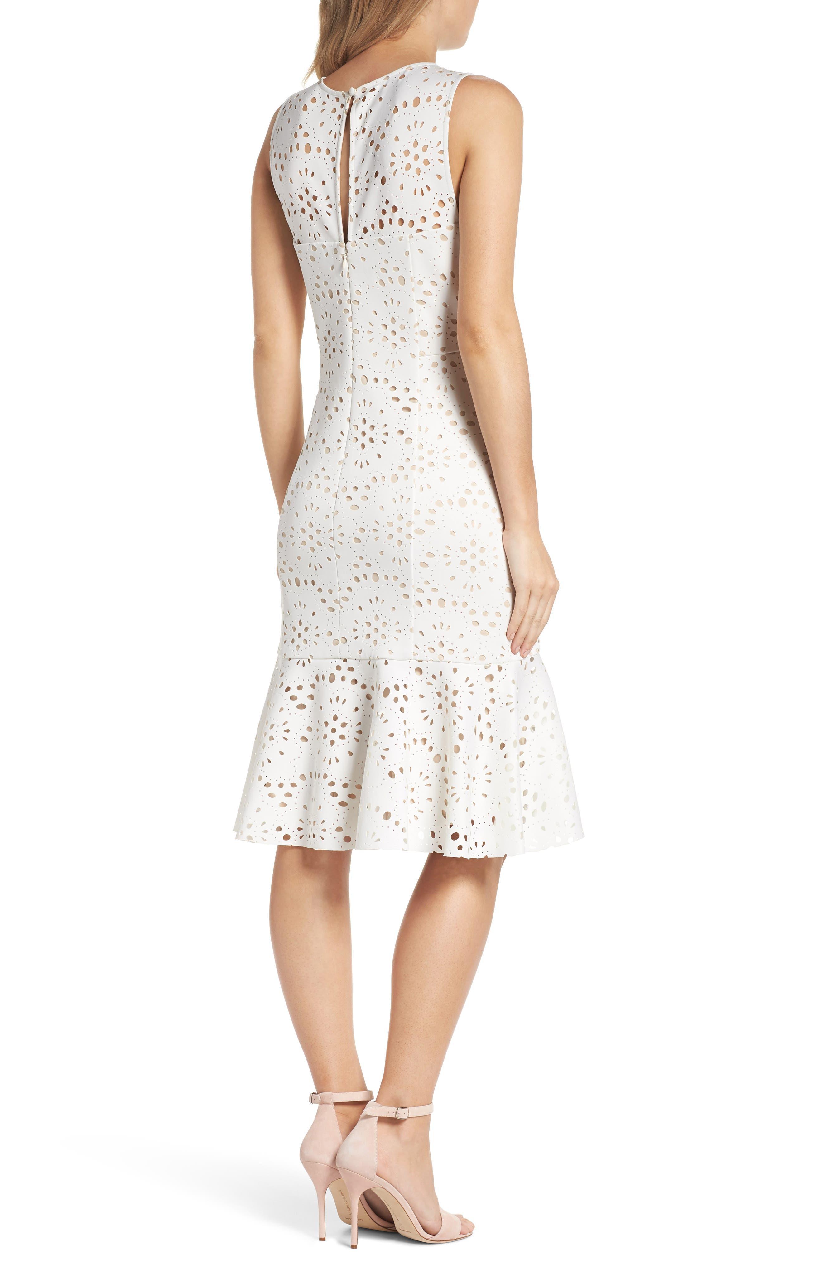Flounce Laser Cut Scuba Dress,                             Alternate thumbnail 2, color,                             White