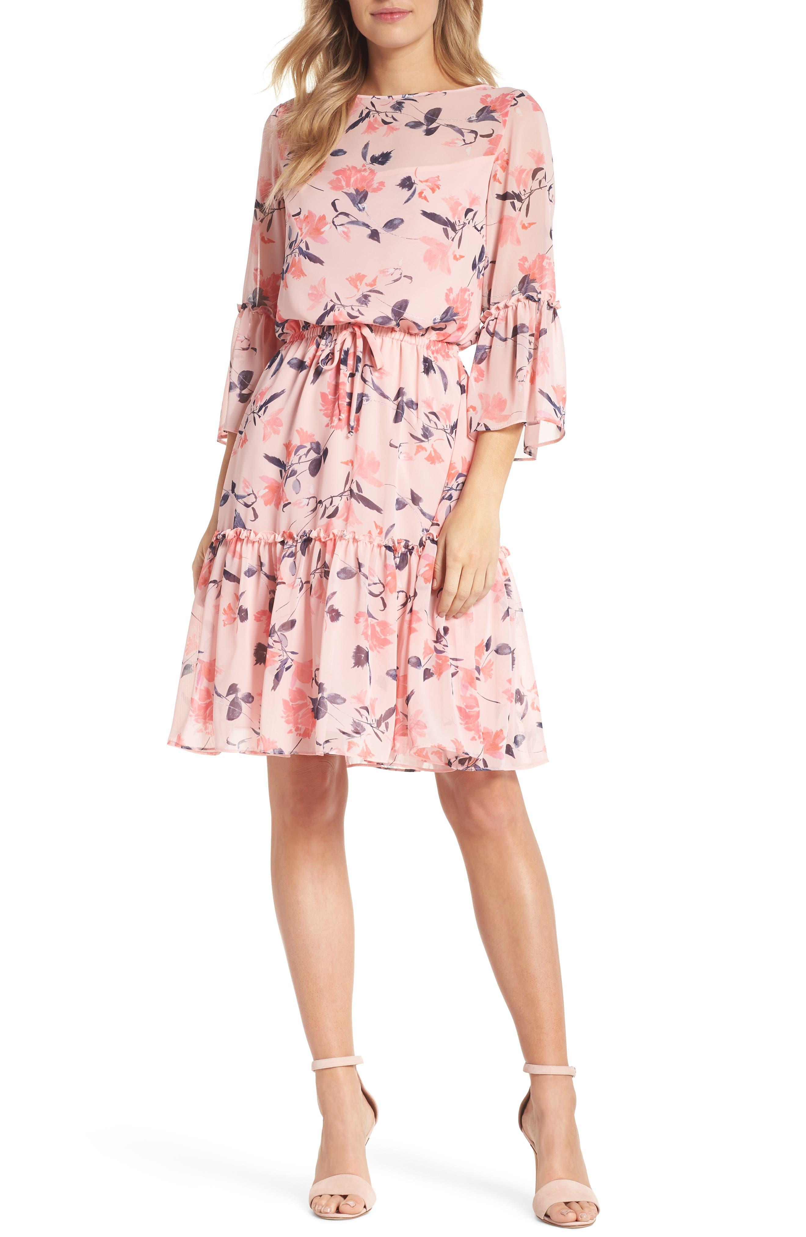 Floral Bell Sleeve Chiffon Dress,                         Main,                         color, Blush