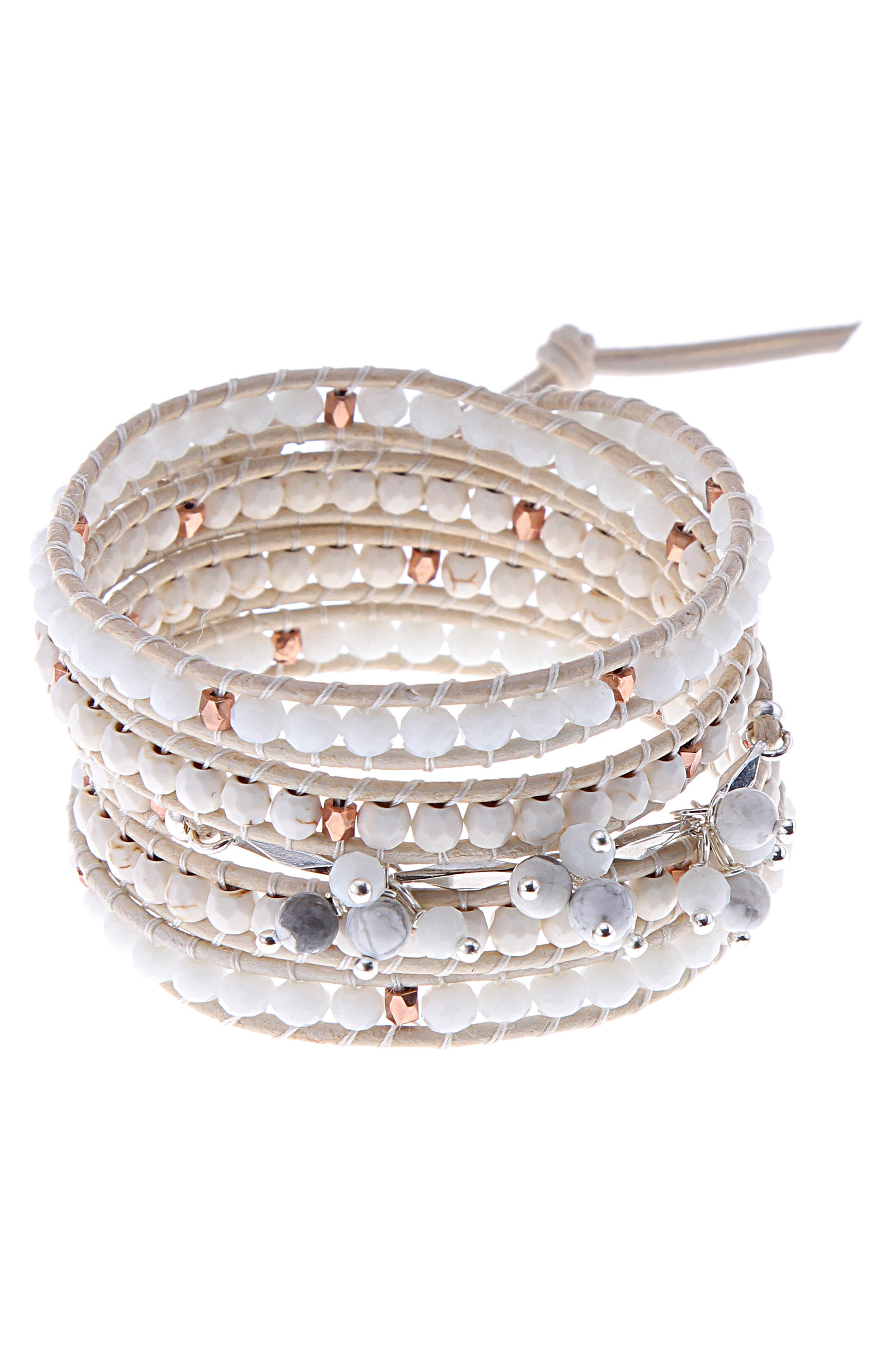 Nakamol Design Leather & Agate Wrap Bracelet