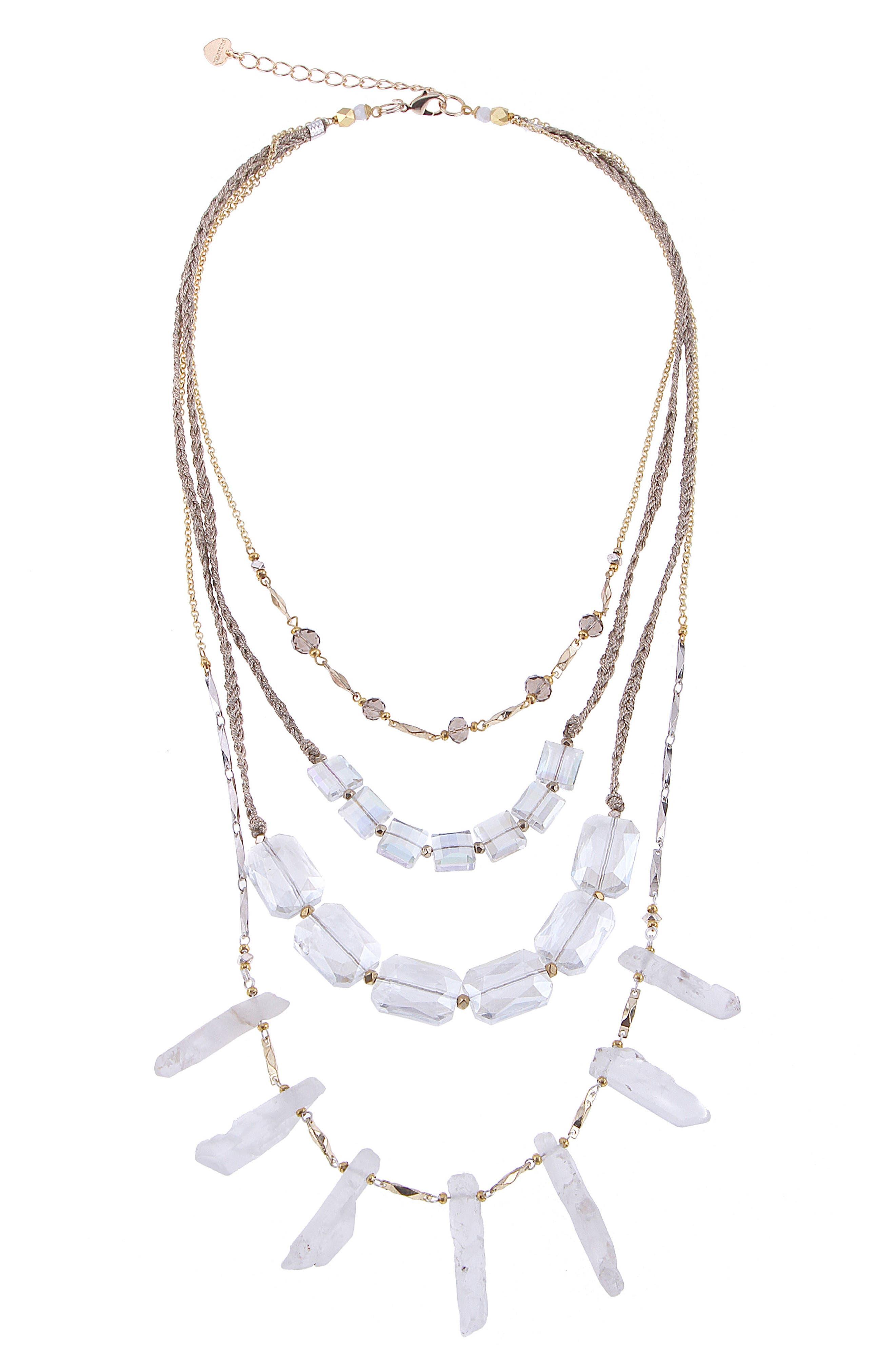 Layered Quartz Necklace,                         Main,                         color, Clear
