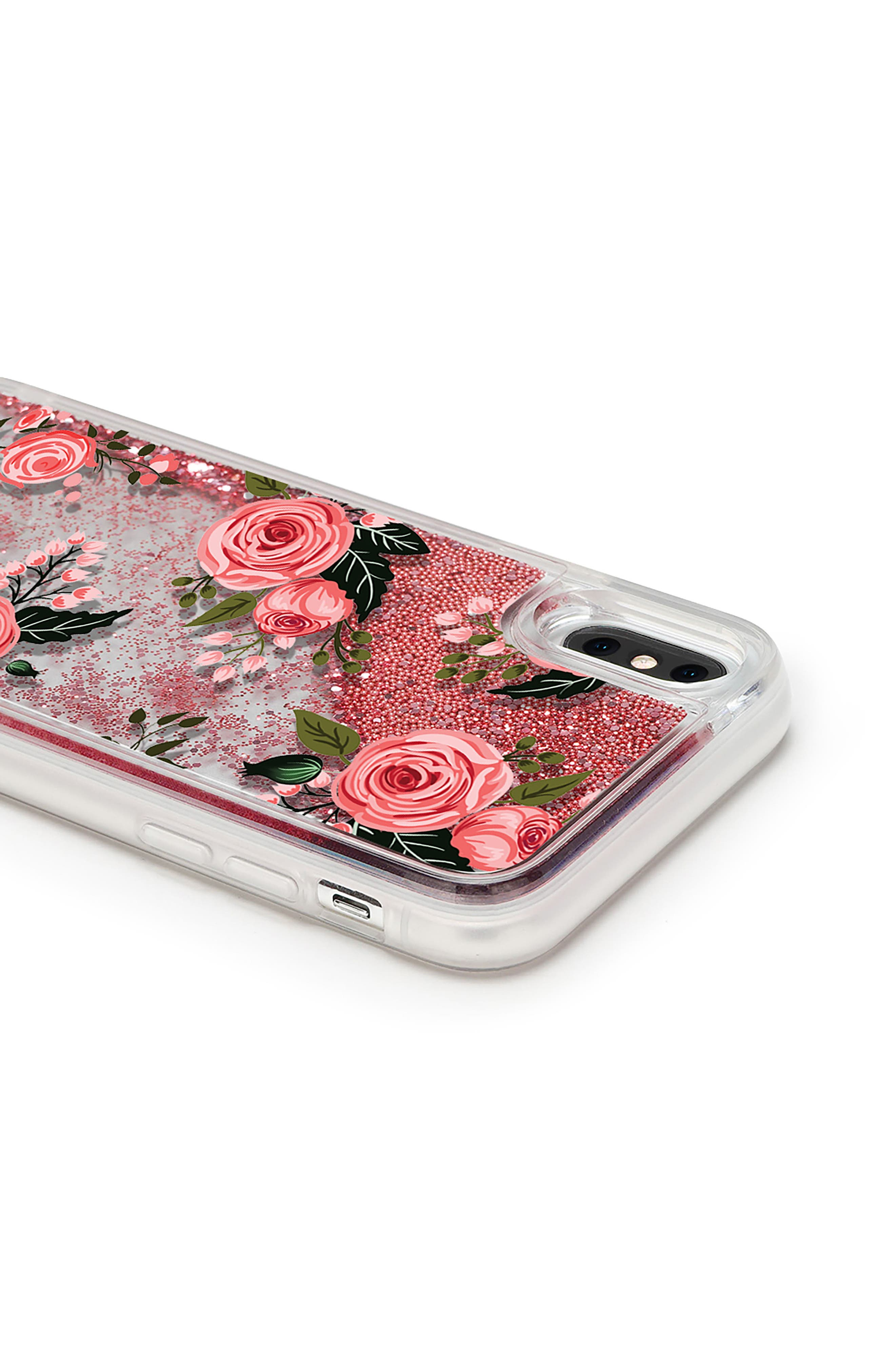 Pink Glitter Flowers iPhone X Case,                             Alternate thumbnail 3, color,                             Pink