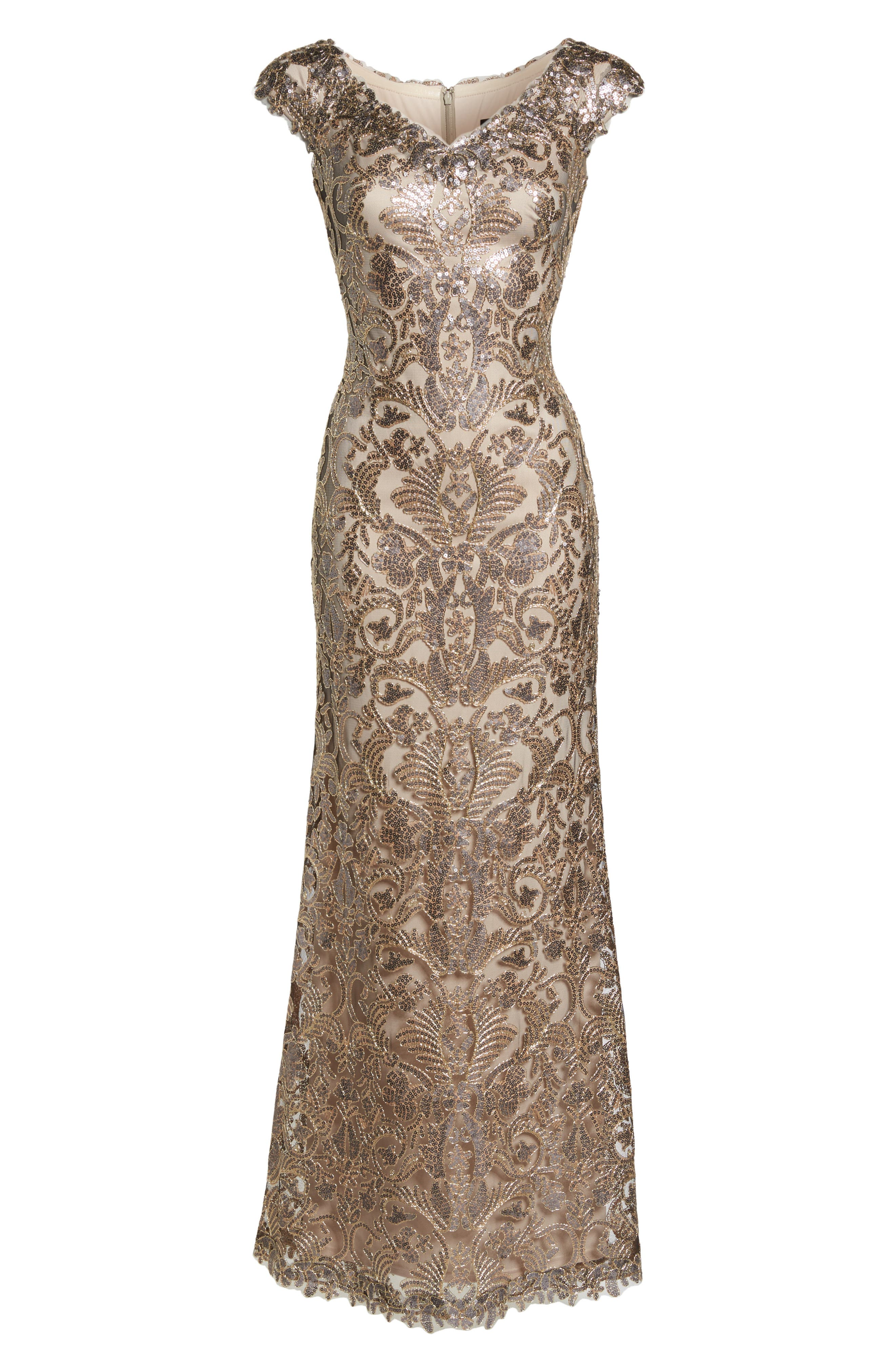 Embroidered Sequin A-Line Gown,                             Alternate thumbnail 6, color,                             Copper Shadow