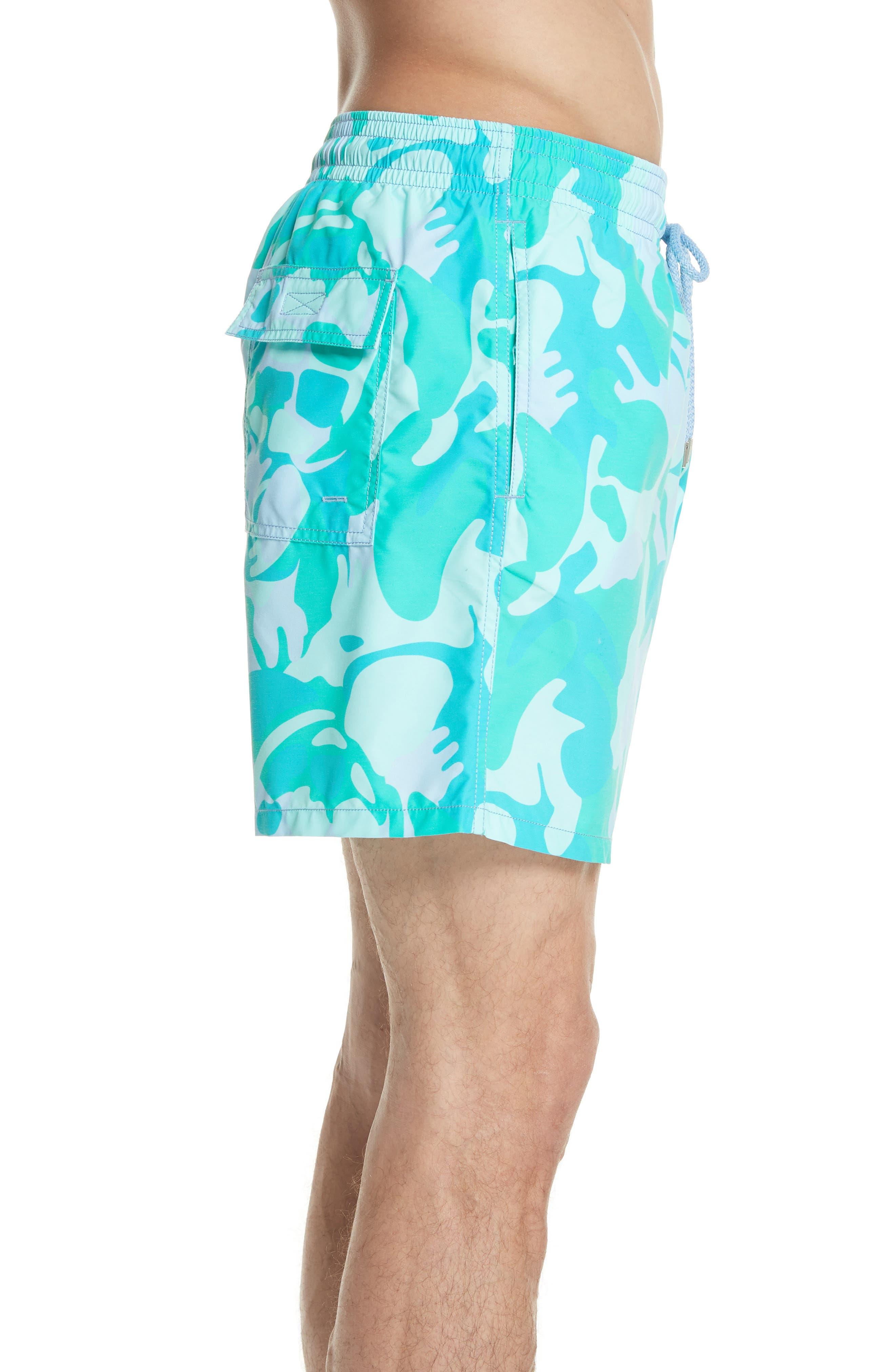 Camo Turtle Print Swim Trunks,                             Alternate thumbnail 3, color,                             Sky Blue
