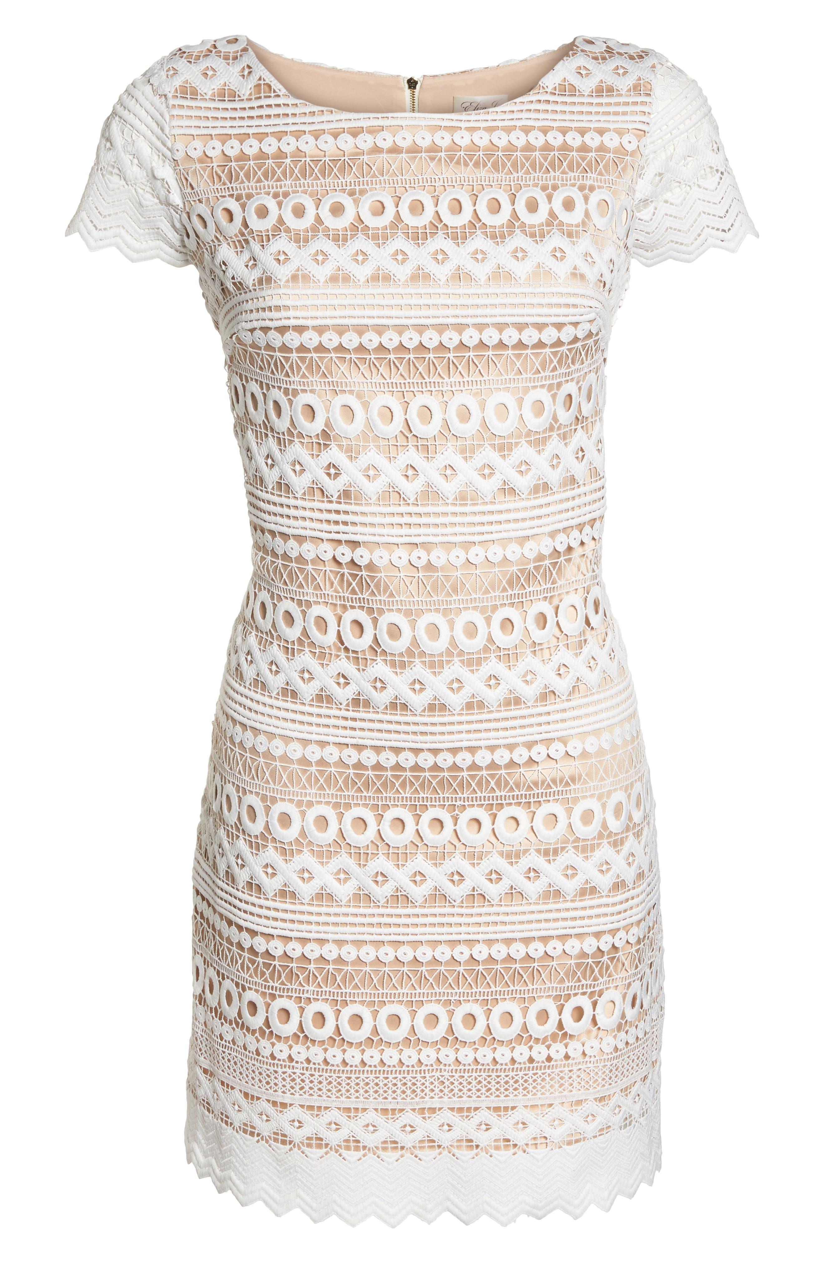 Geo Lace Sheath Dress,                             Alternate thumbnail 7, color,                             Ivory
