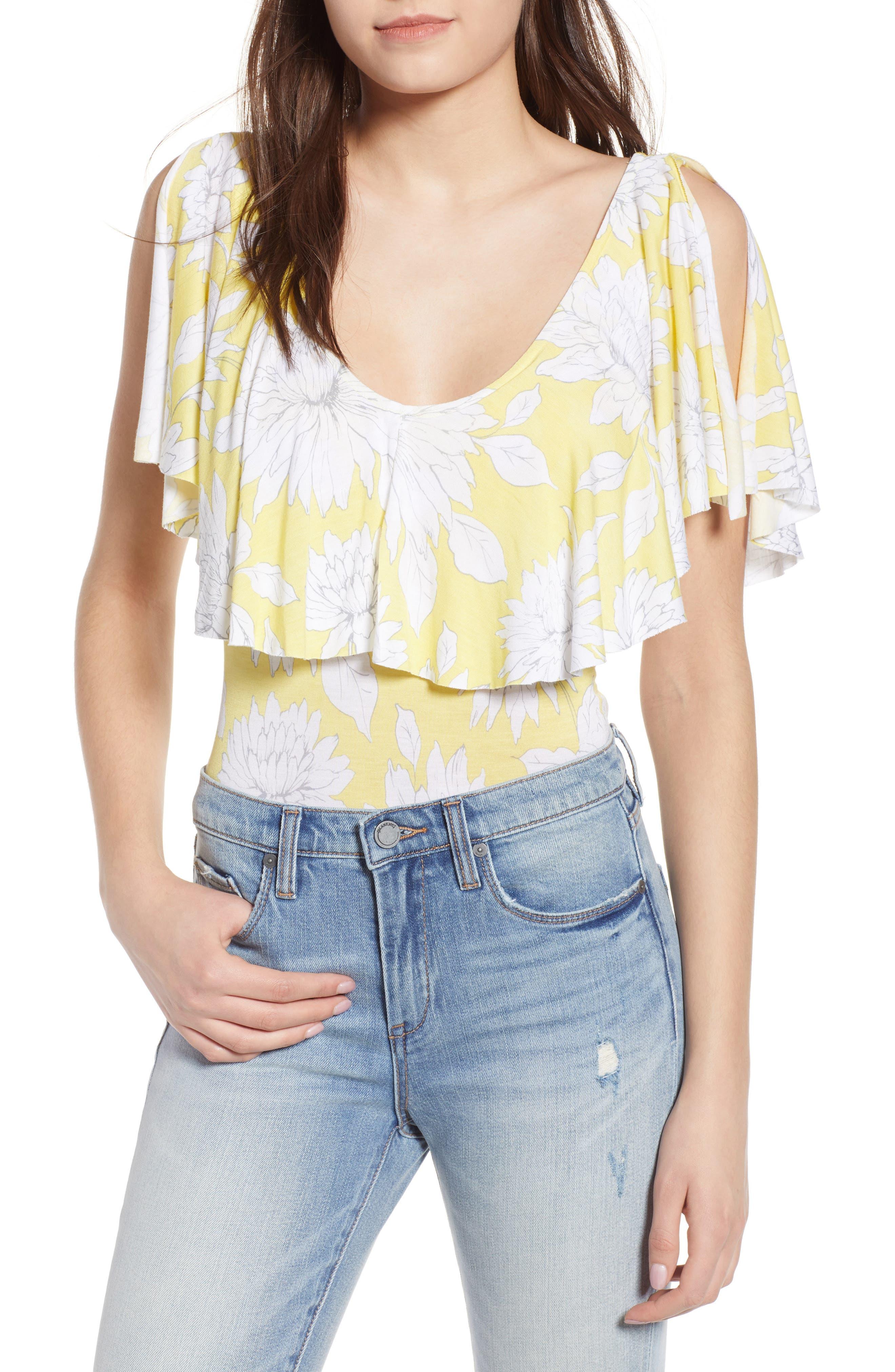 Print Ruffle Bodysuit,                         Main,                         color, Yellow Glow Grunge Floral