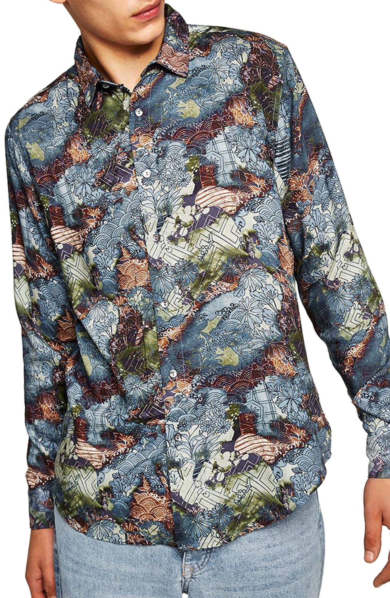 Multi Print Shirt,                         Main,                         color, Blue Multi