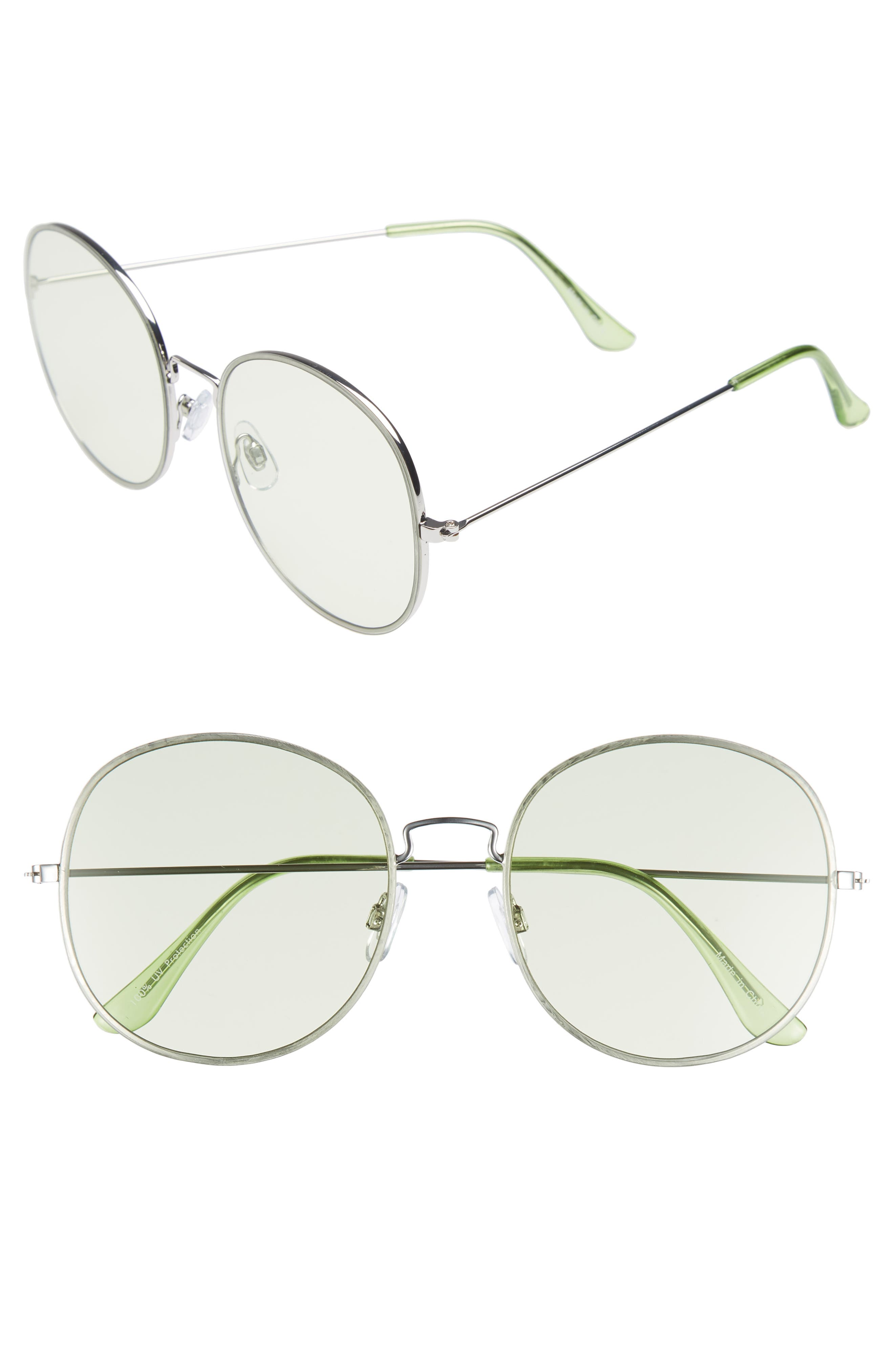 57mm Flat Round Sunglasses,                             Main thumbnail 1, color,                             Green