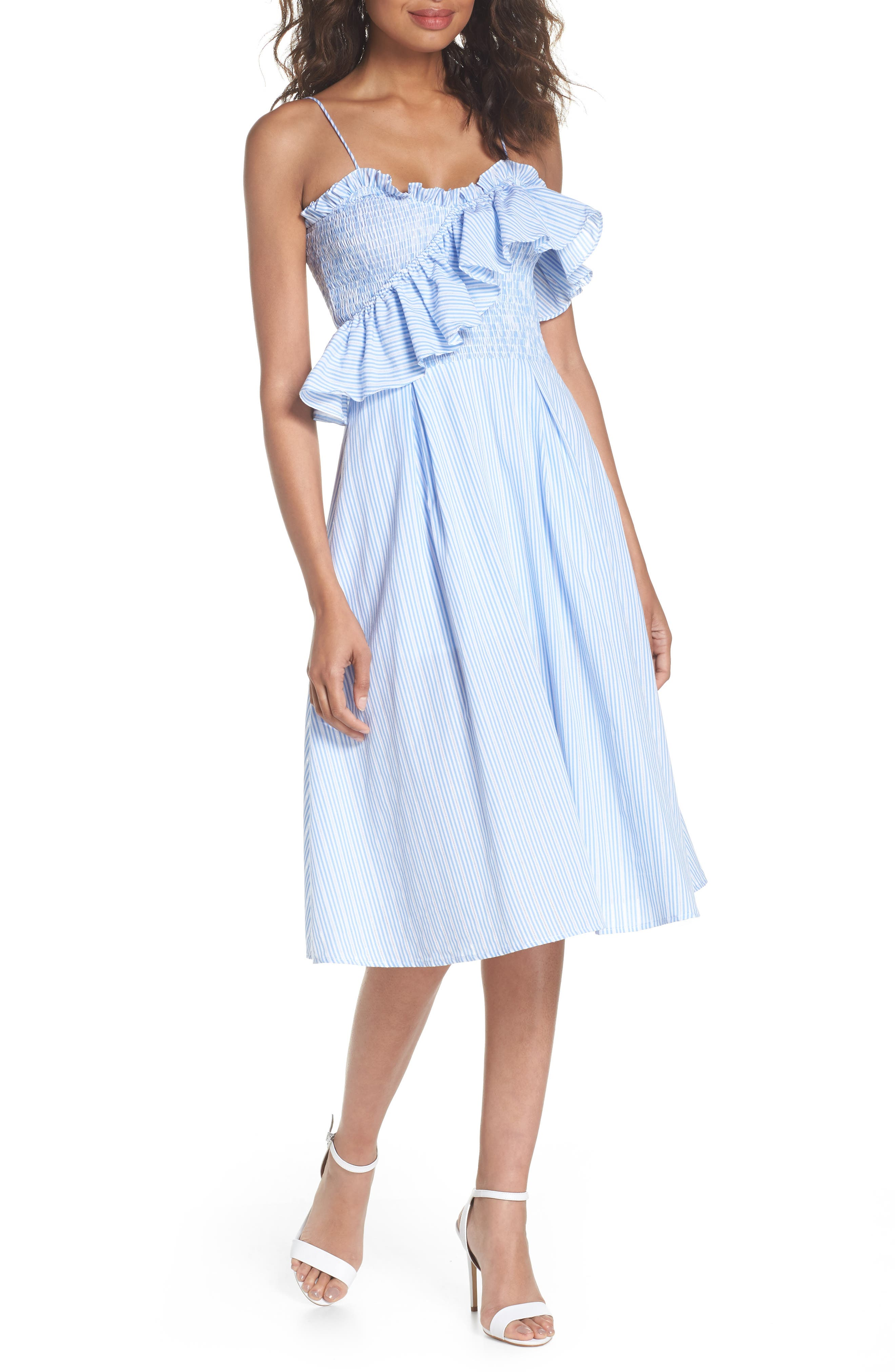 Stripe Poplin Fit & Flare Dress,                             Main thumbnail 1, color,                             Light Blue