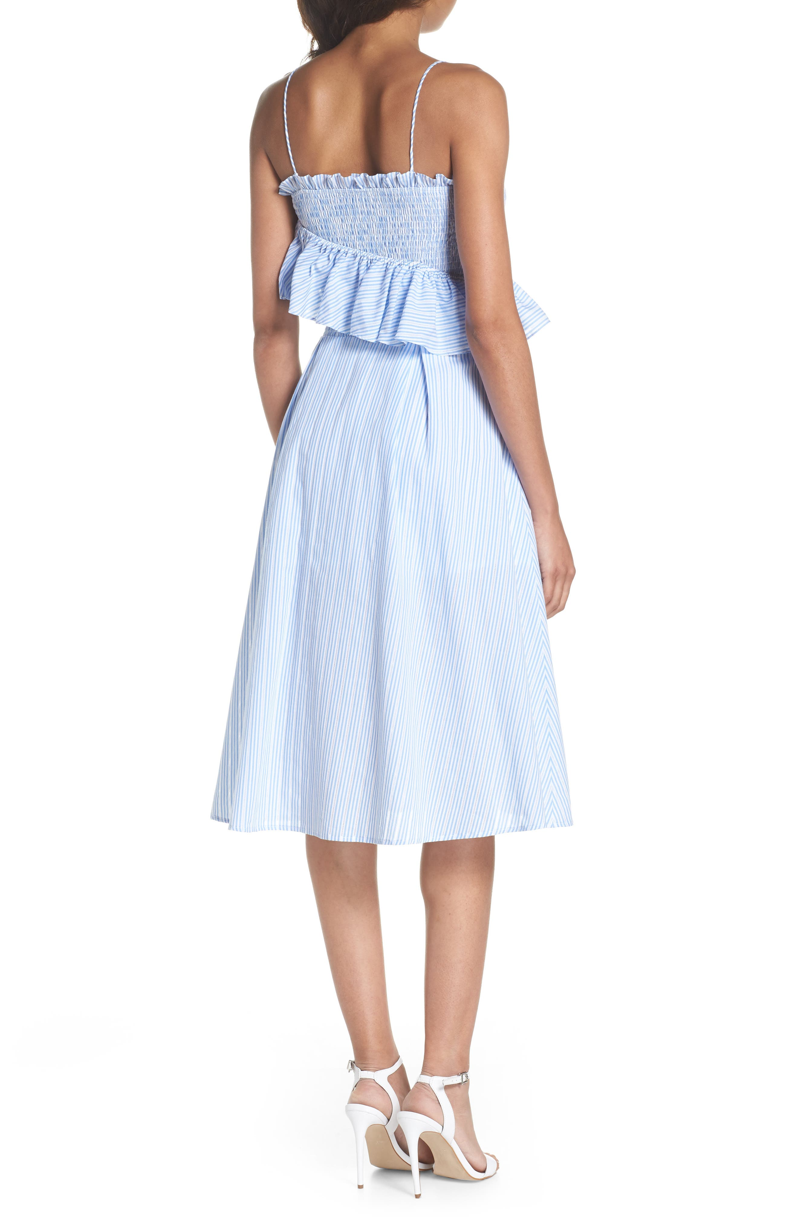 Stripe Poplin Fit & Flare Dress,                             Alternate thumbnail 2, color,                             Light Blue