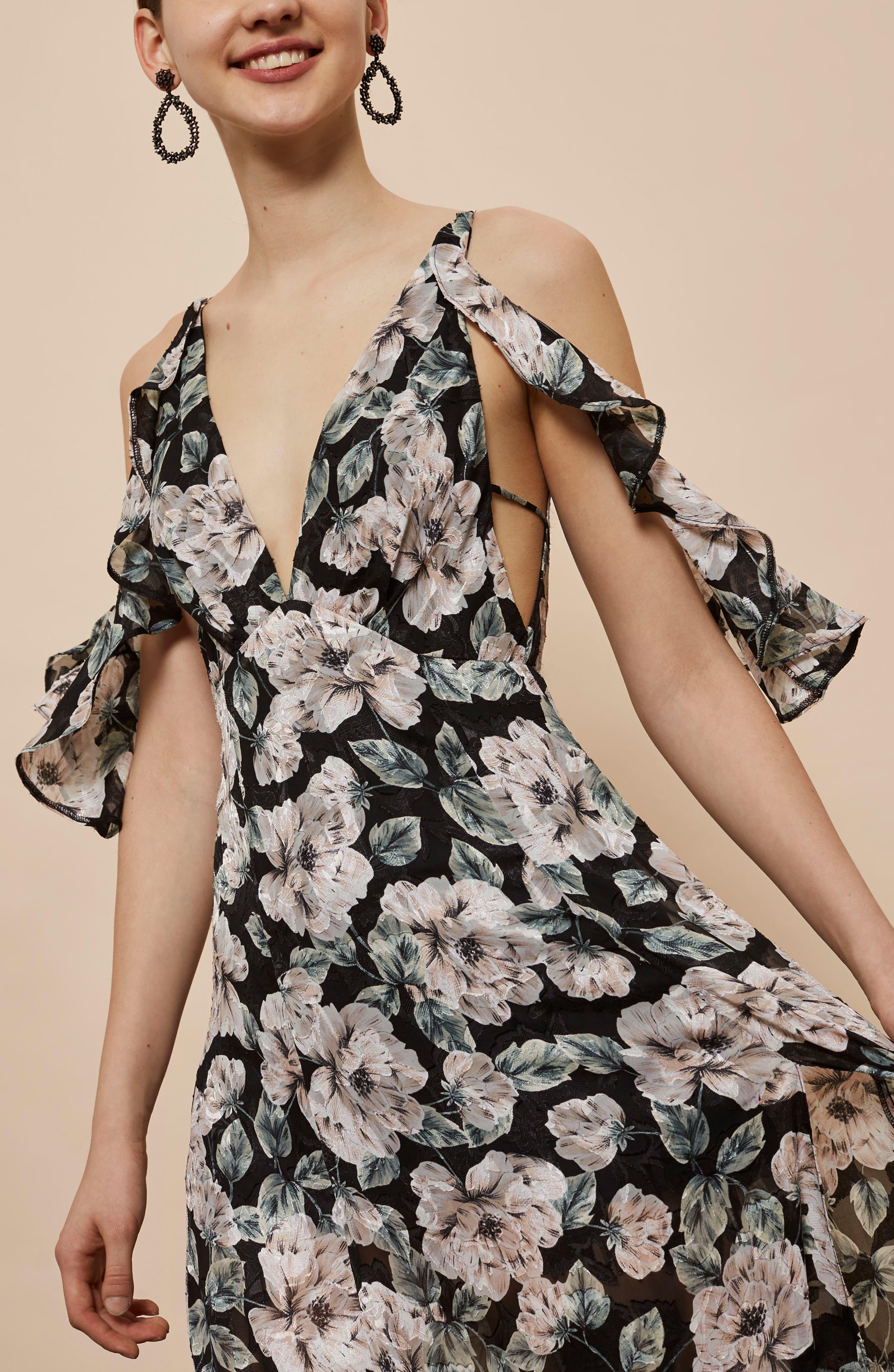 Devoré Floral Cold Shoulder Dress,                             Alternate thumbnail 5, color,                             Black Multi
