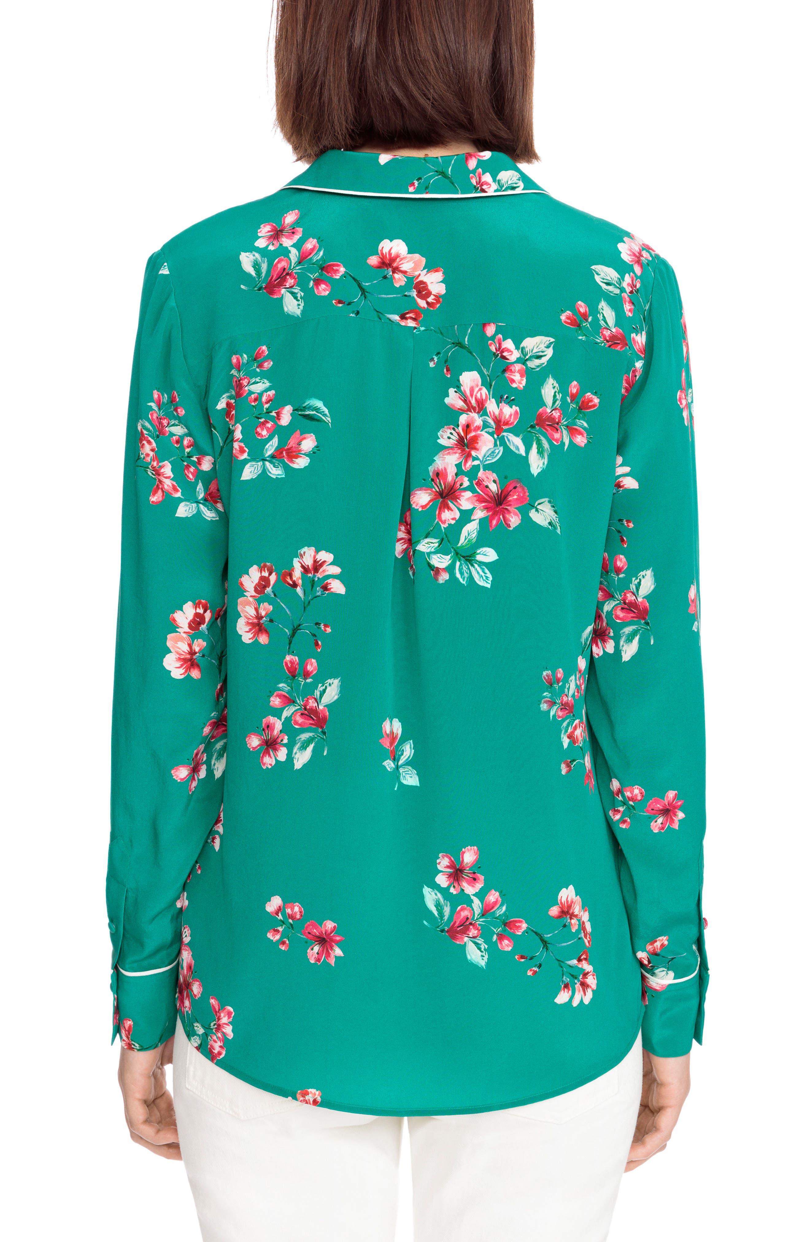 Elisa Floral Silk Pajama Shirt,                             Alternate thumbnail 3, color,                             Bouquet Print On Green