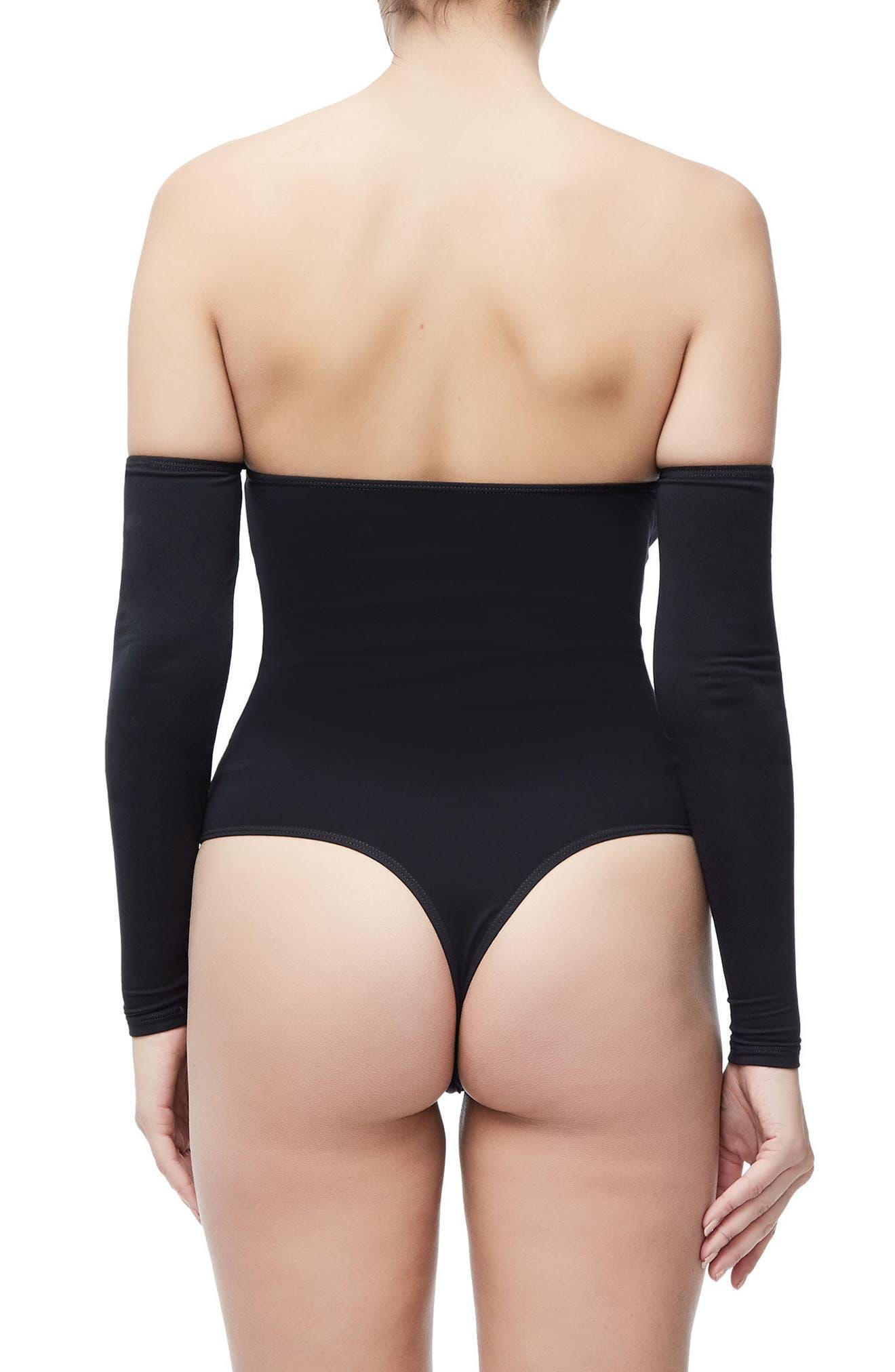 Good Body Sporty Off the Shoulder Thong Bodysuit,                             Alternate thumbnail 3, color,                             Black001