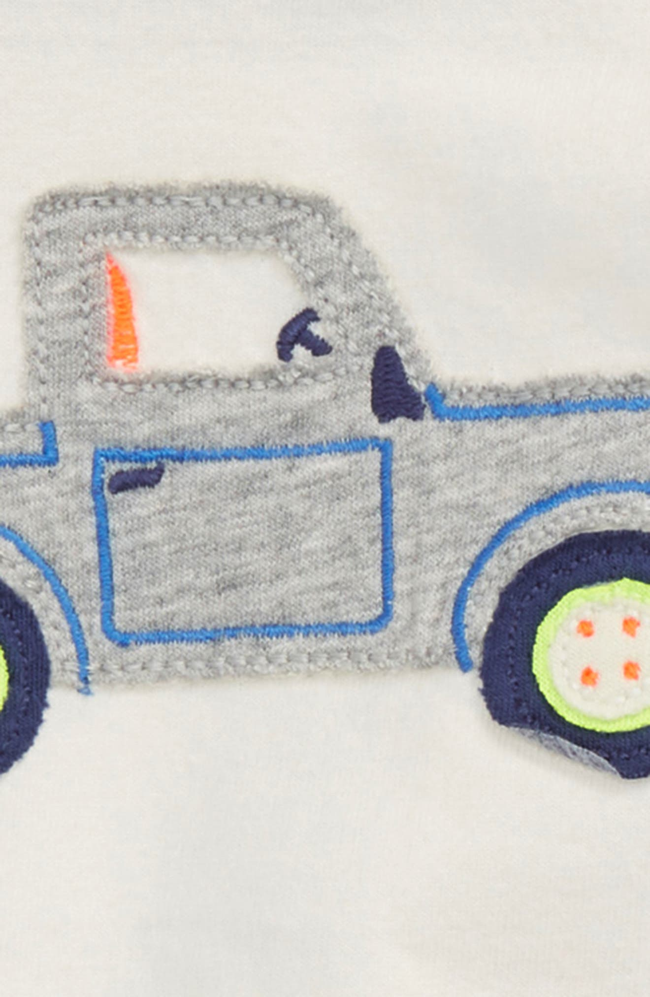Fun Truck Appliqué T-Shirt & Shorts Set,                             Alternate thumbnail 2, color,                             Ivory Truck