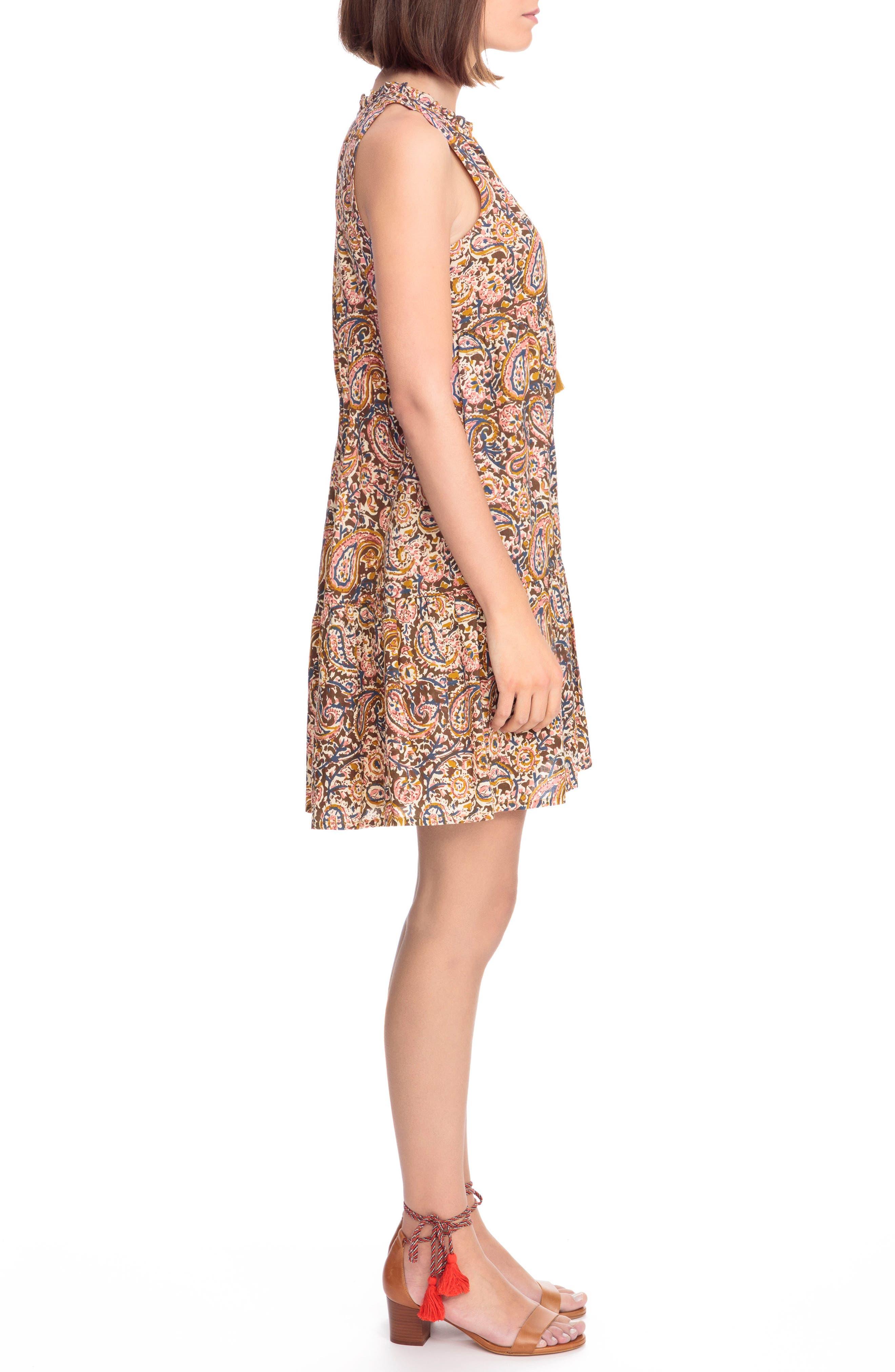 Arielle Paisley A-Line Dress,                             Alternate thumbnail 4, color,                             Indian Cashmere Print