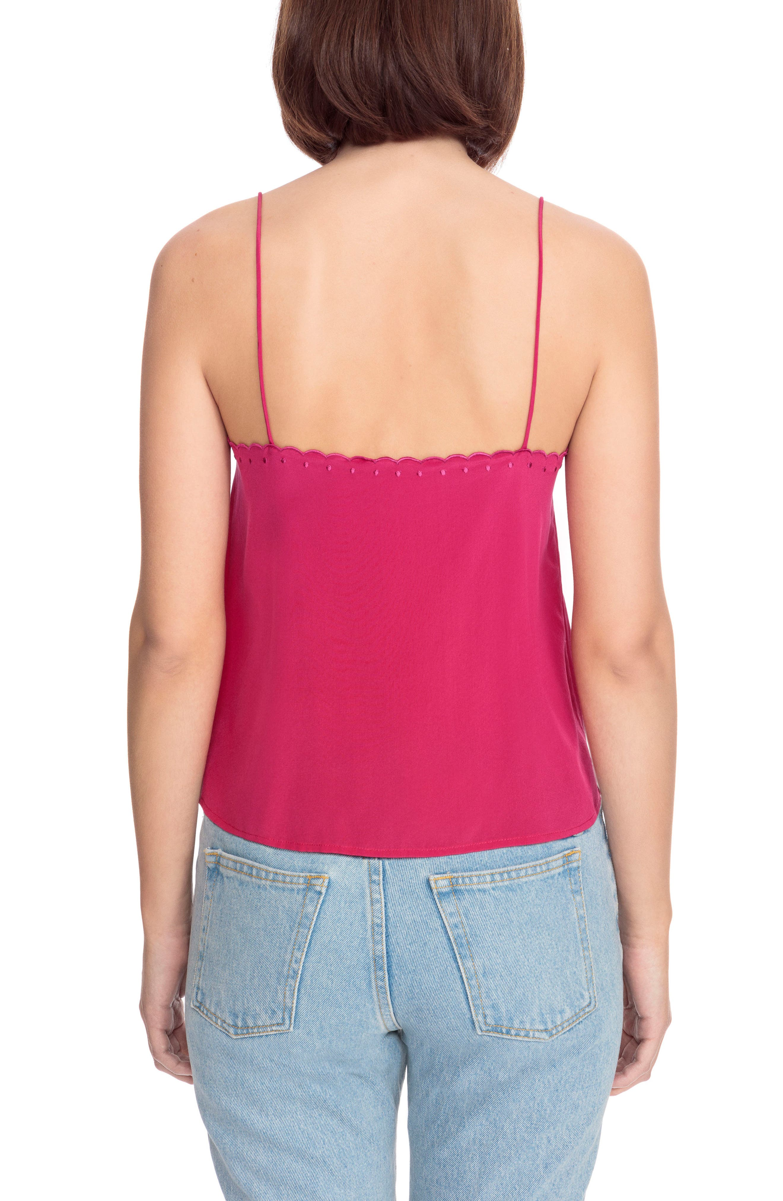 Athenee Scalloped Silk Camisole,                             Alternate thumbnail 3, color,                             Bright Pink