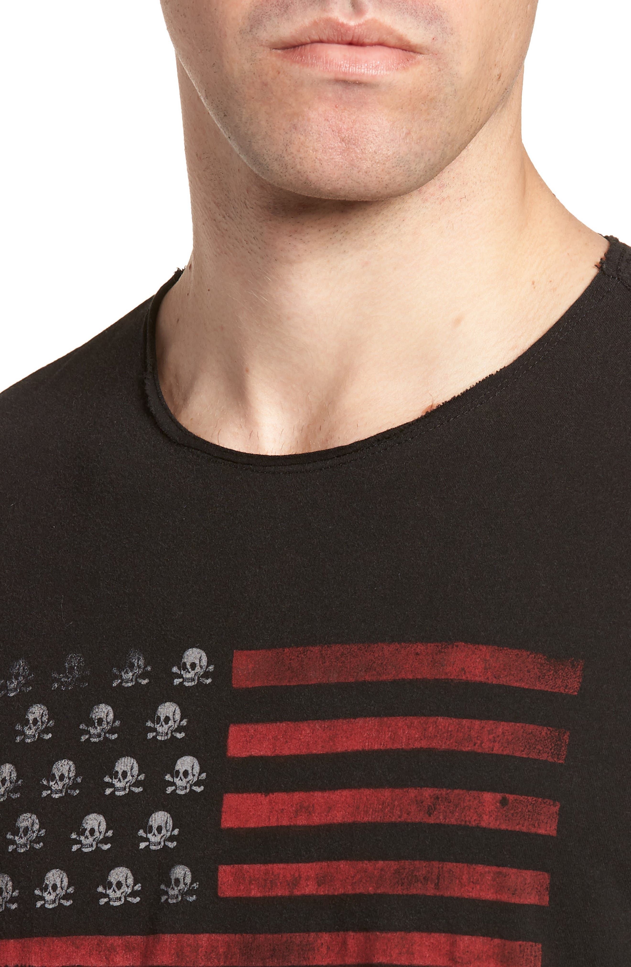 Skull Flag Crewneck T-Shirt,                             Alternate thumbnail 4, color,                             Black