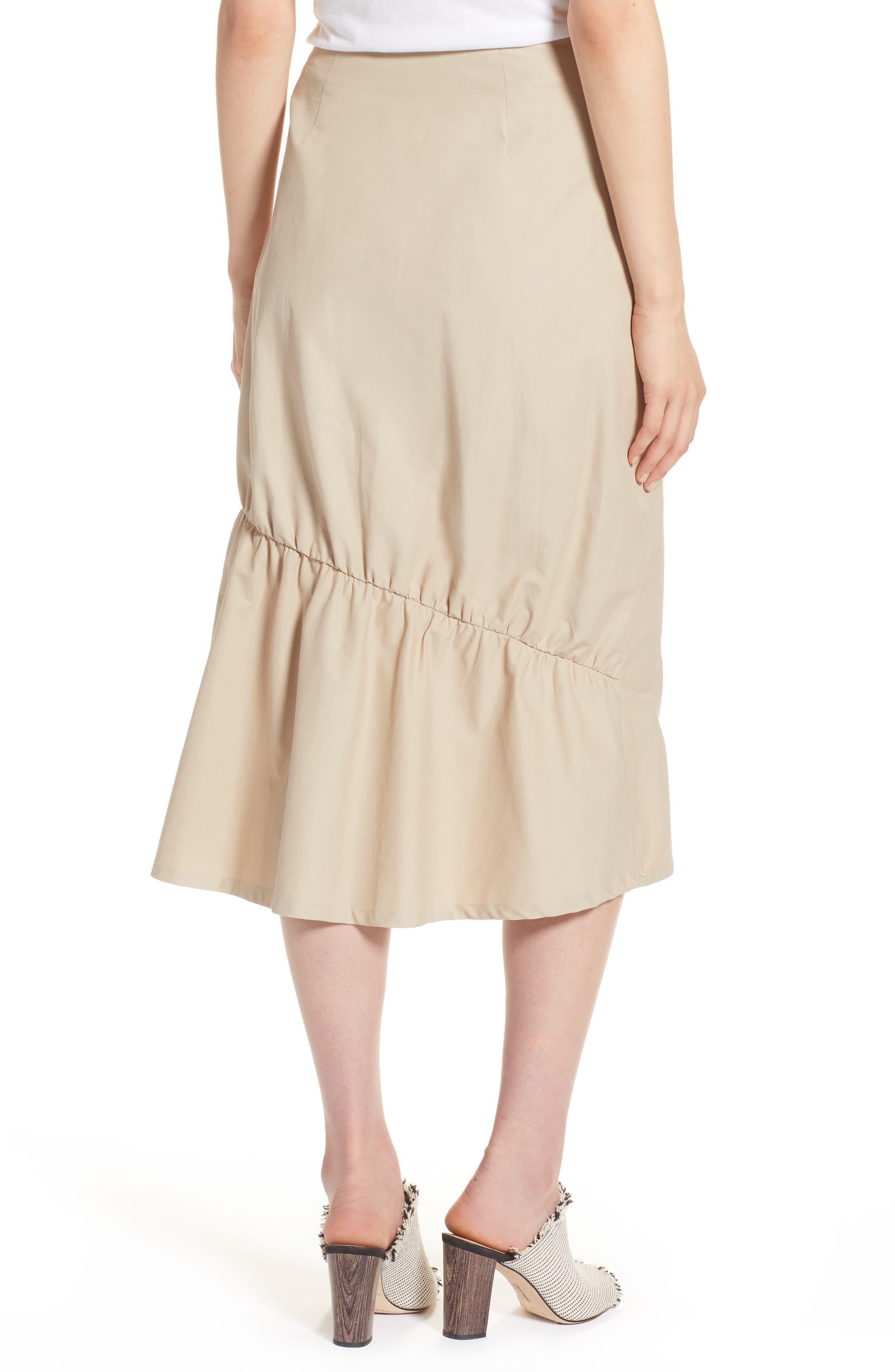 Ruffle Front Skirt,                             Alternate thumbnail 2, color,                             Tan Thread