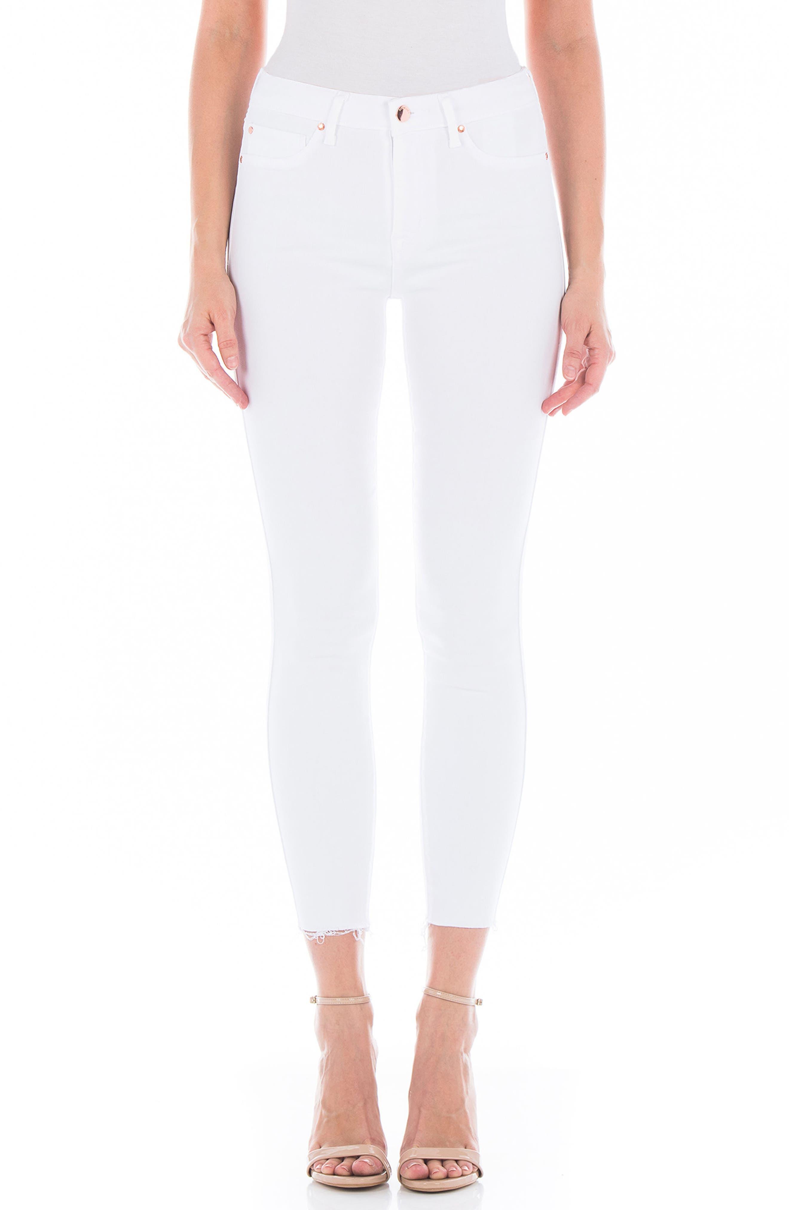 Gwen Raw Hem Crop Skinny Jeans,                             Main thumbnail 1, color,                             White
