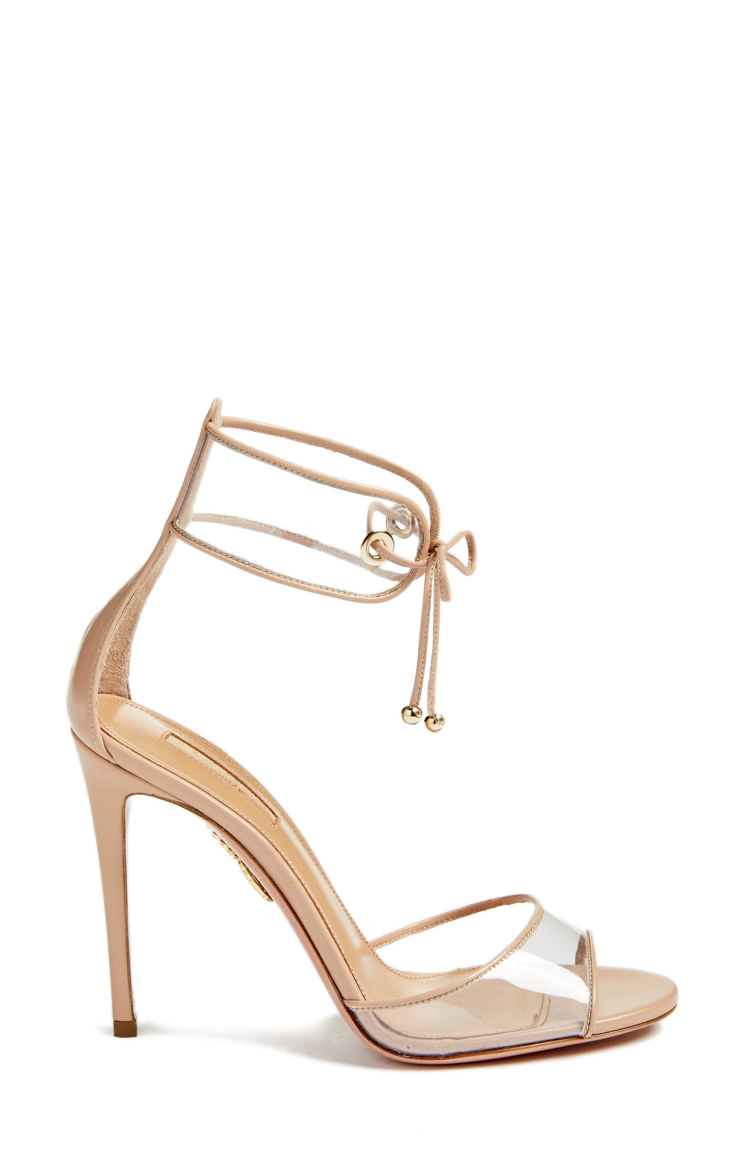 Optic Clear Ankle Tie Sandal,                             Alternate thumbnail 3, color,                             Powder Pink