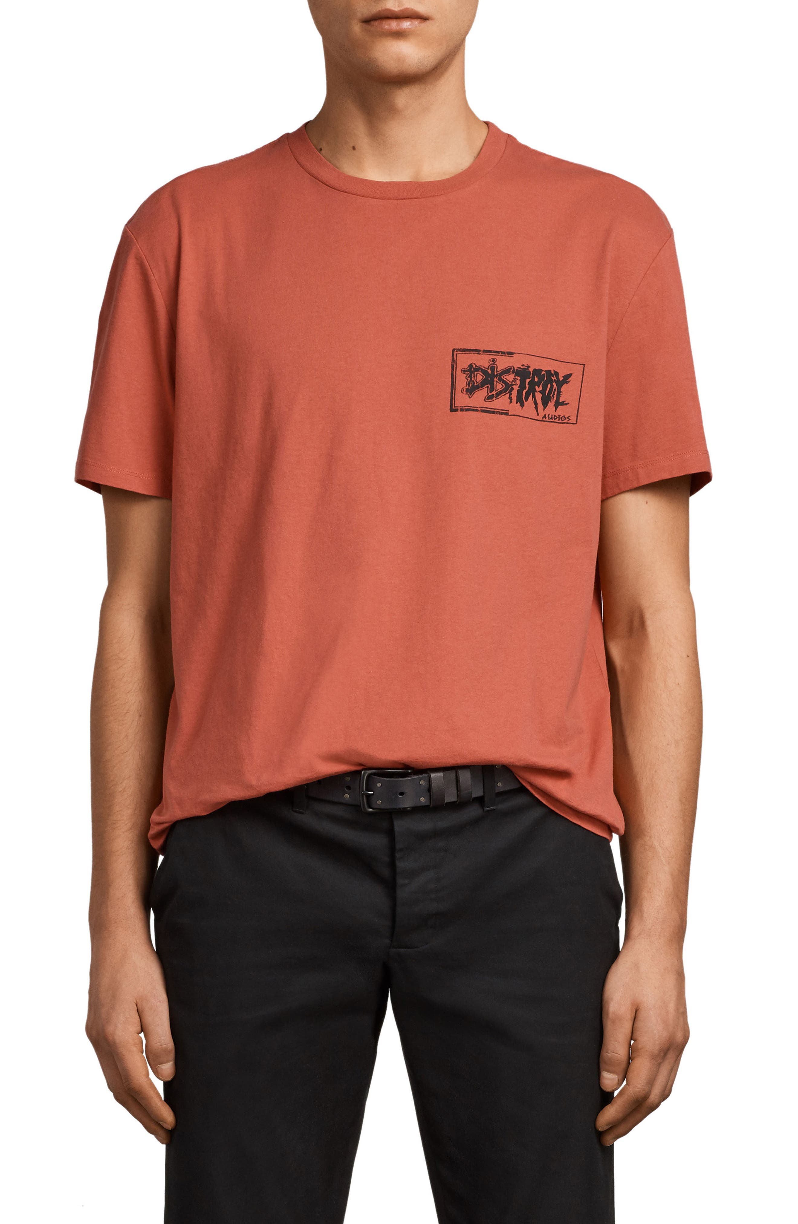 Distroy Graphic T-Shirt,                         Main,                         color, Block Red/ Black
