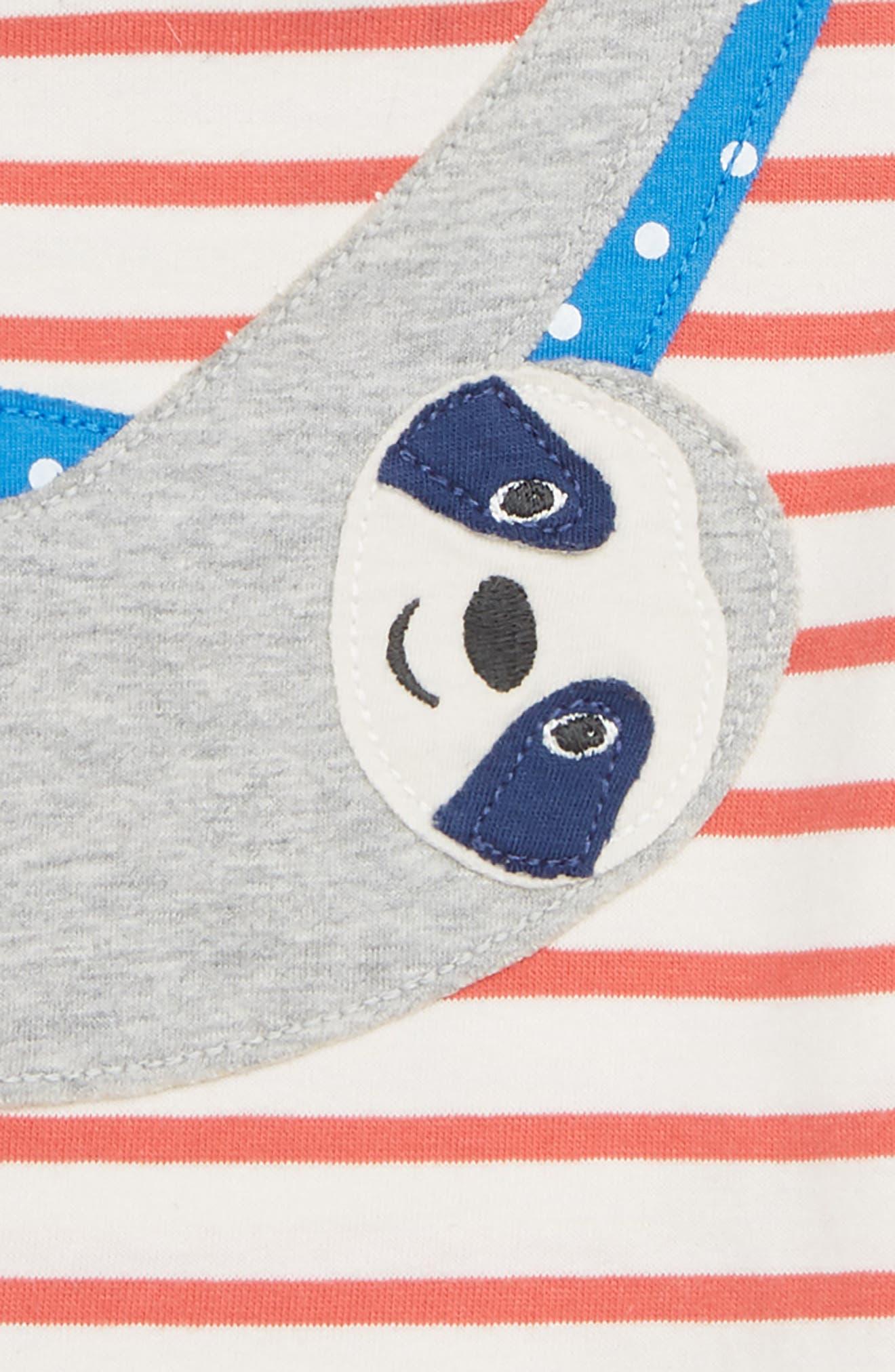 Sloth Appliqué T-Shirt,                             Alternate thumbnail 3, color,                             Crayon Red
