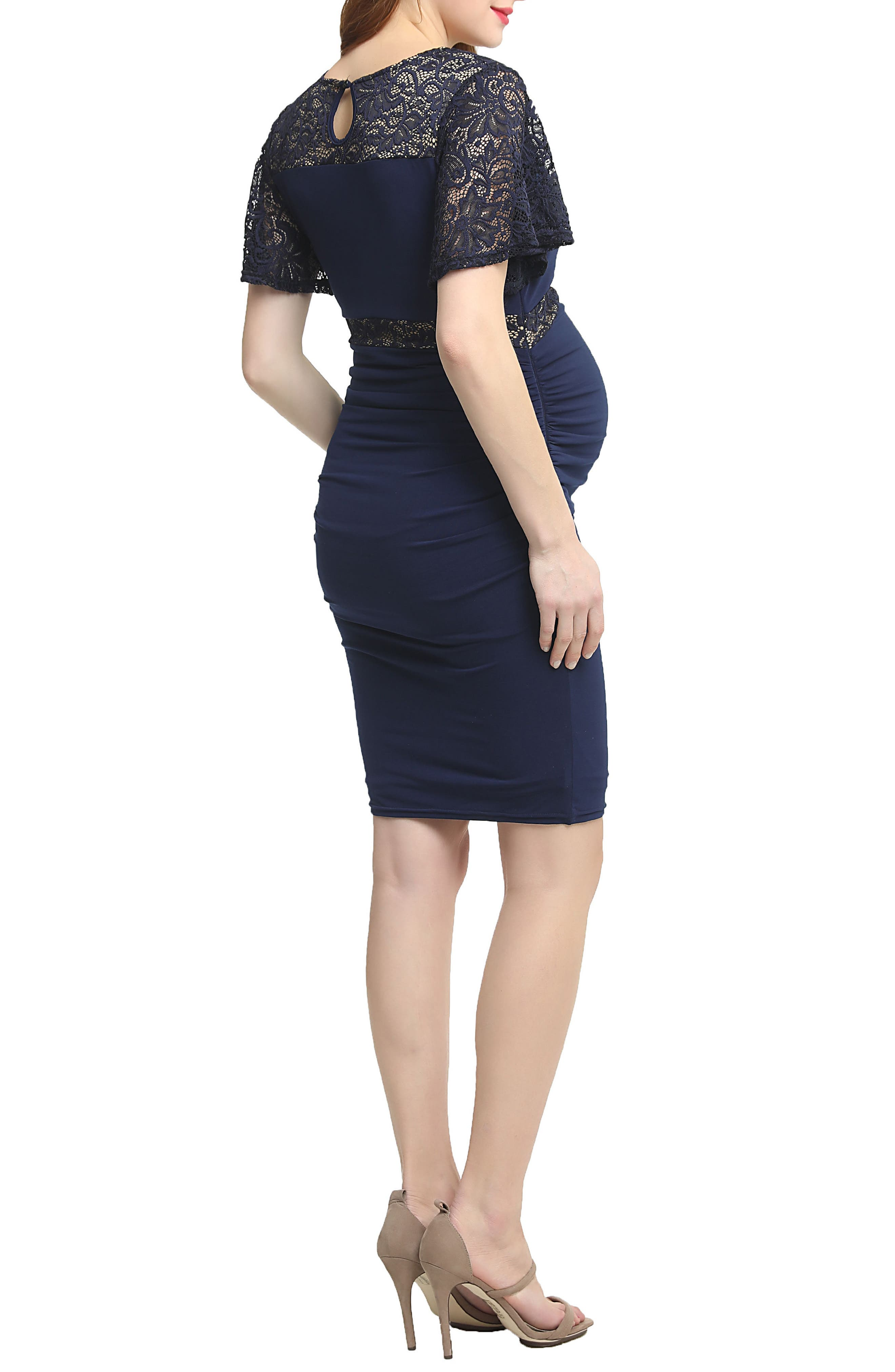 Kennedy Lace Accent Maternity Dress,                             Alternate thumbnail 2, color,                             Navy