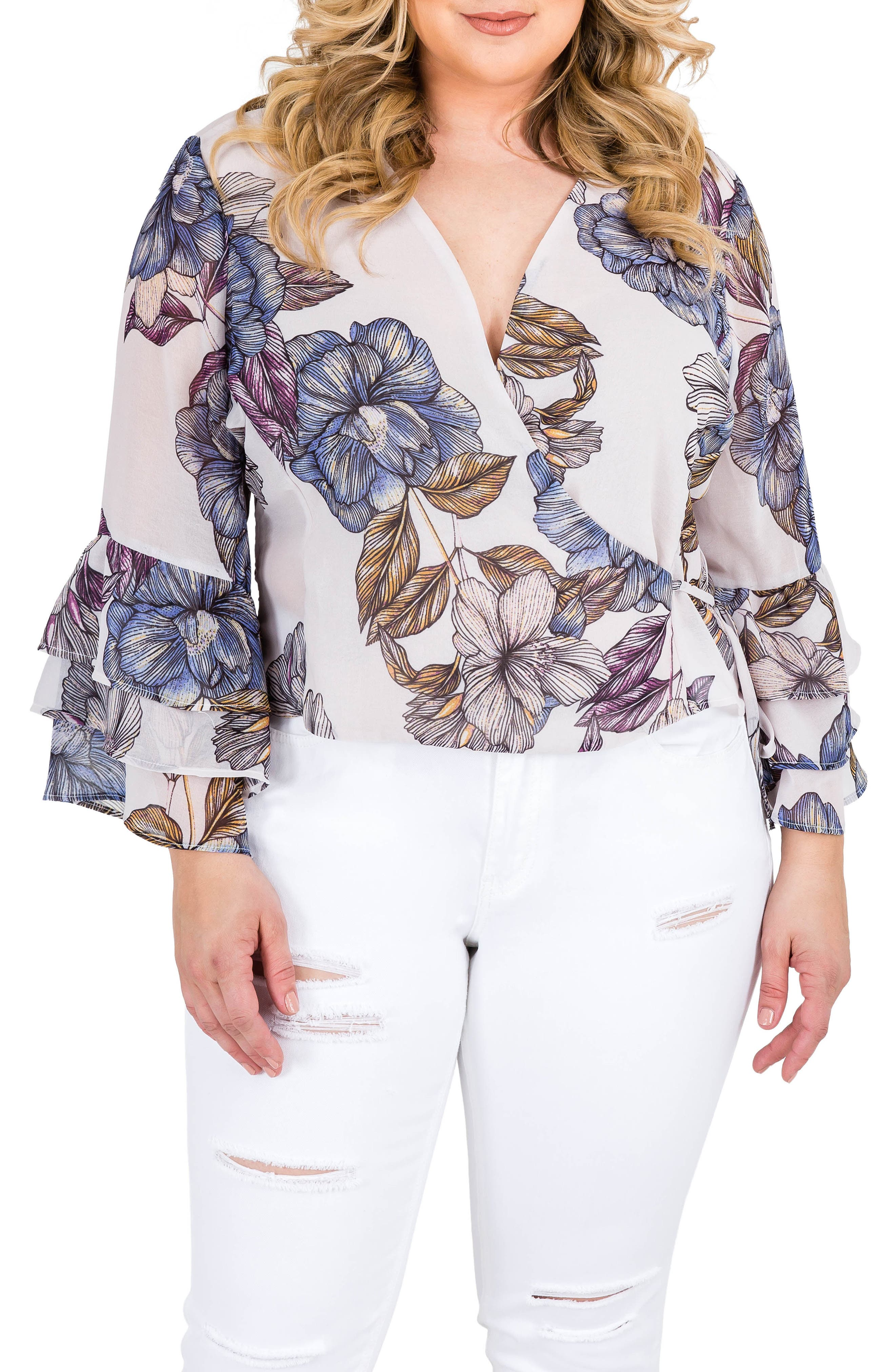 Miley Bell Sleeve Floral Wrap Top,                         Main,                         color, Light Gray Floral Print
