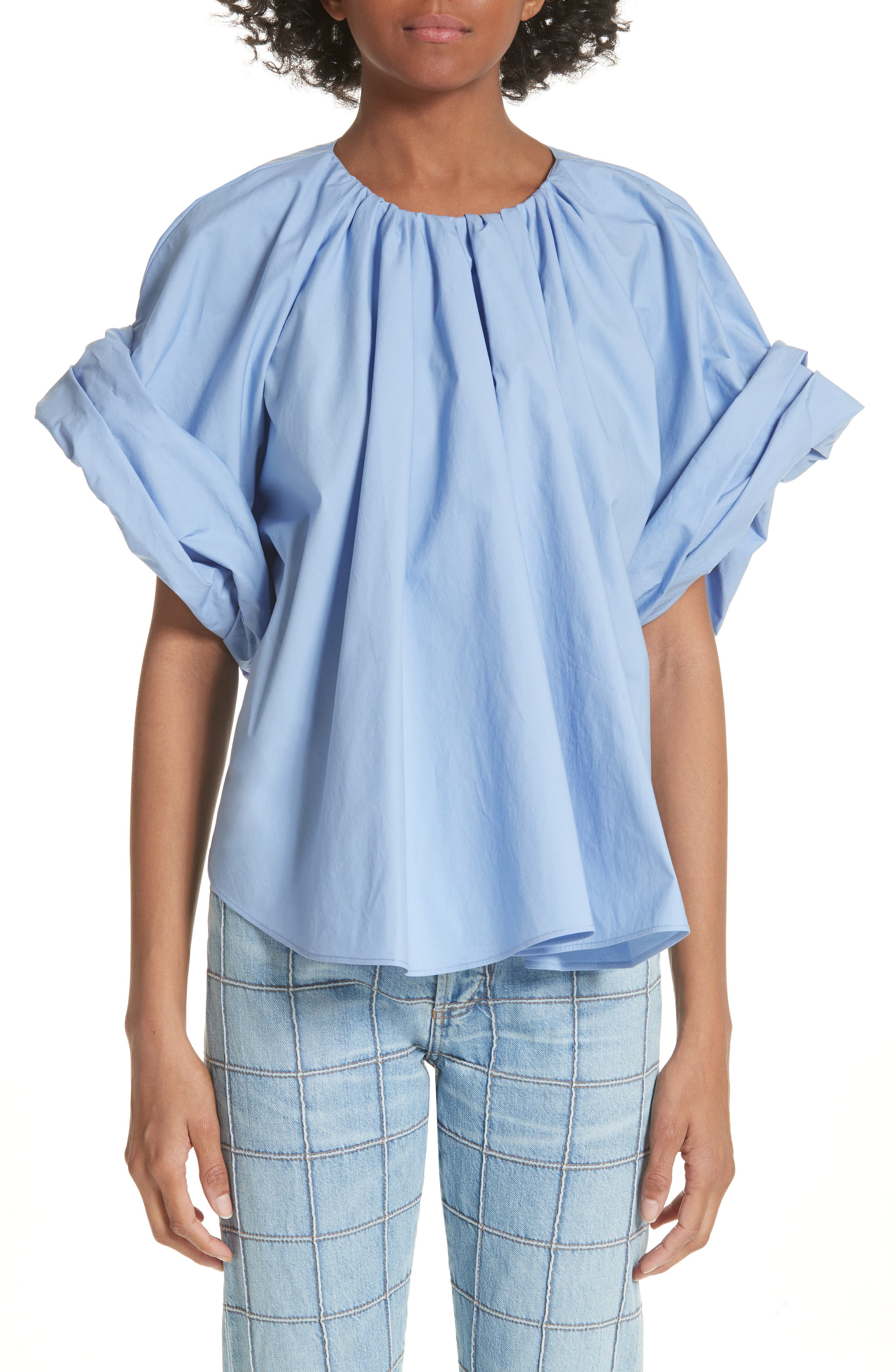 Wide Sleeve Top,                         Main,                         color, Blue