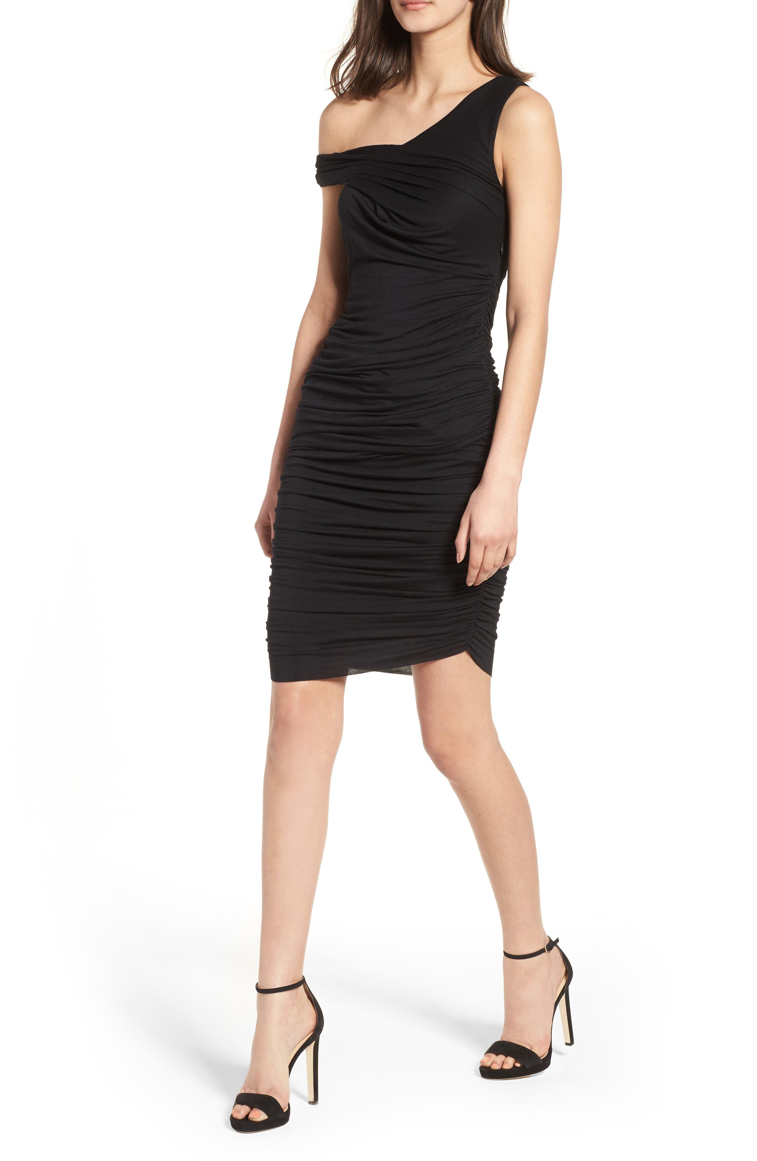 Ruched Sheath Dress,                             Main thumbnail 1, color,                             Black Multi