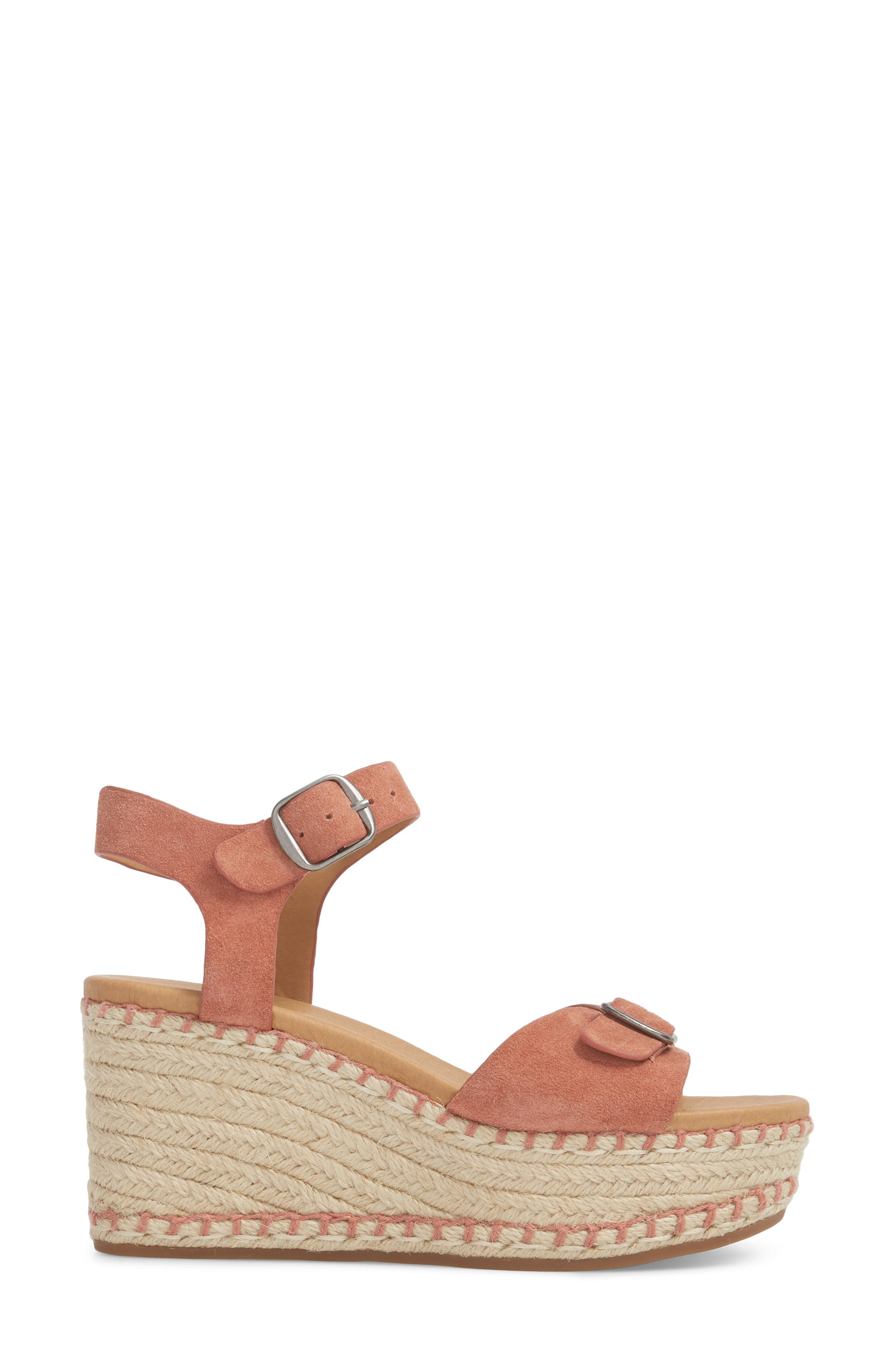 Naveah III Espadrille Wedge Sandal,                             Alternate thumbnail 3, color,                             Canyon Rose Suede