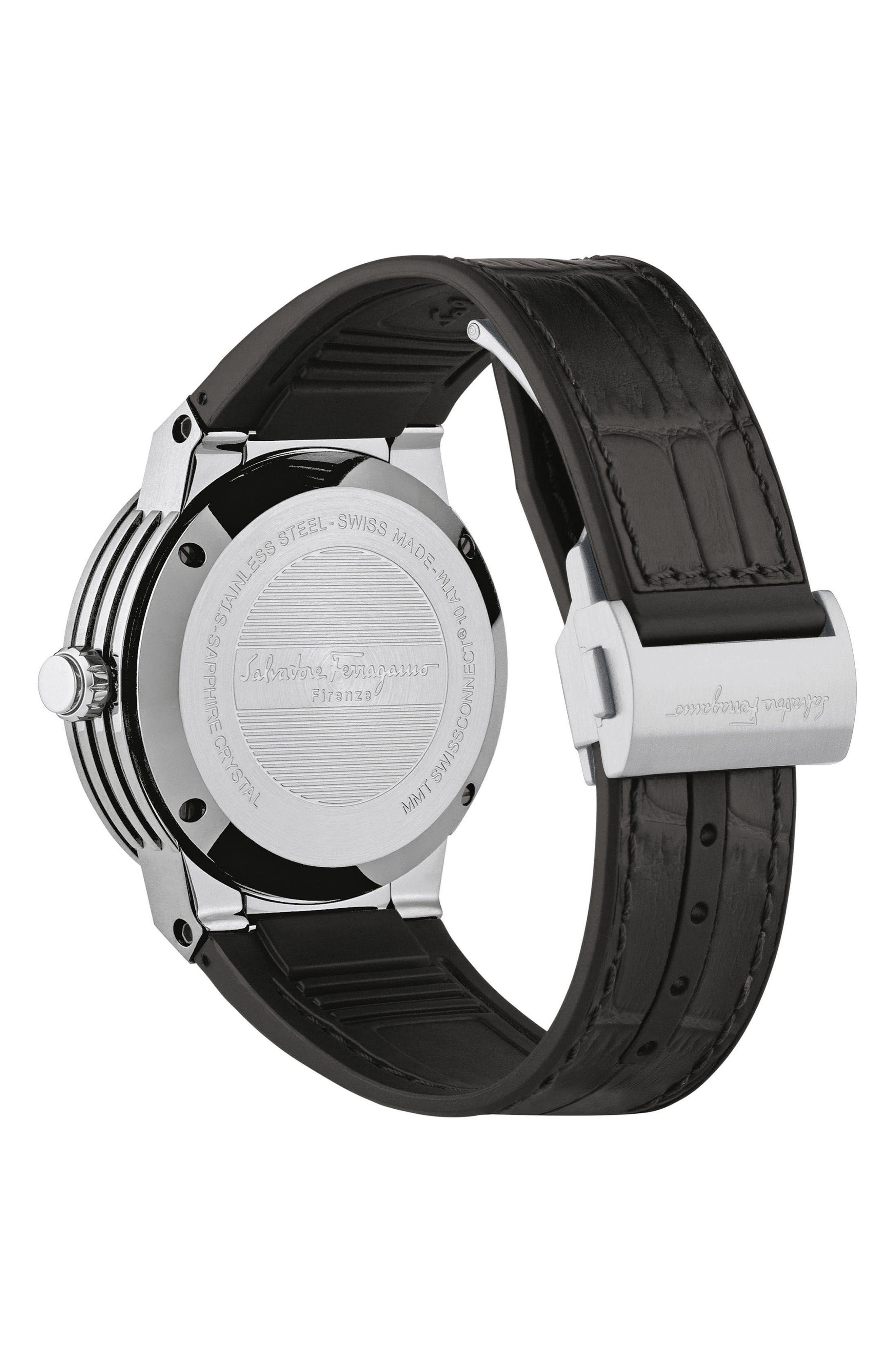 'F-80 Motion' Leather Strap Smart Watch, 44mm,                             Alternate thumbnail 2, color,                             Black/ Grey/ Silver