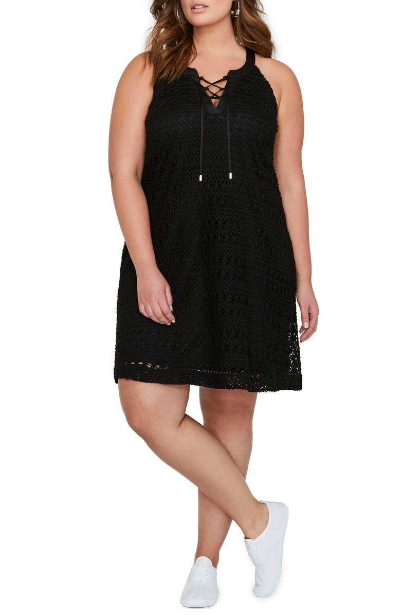 Lace-Up Crochet Dress