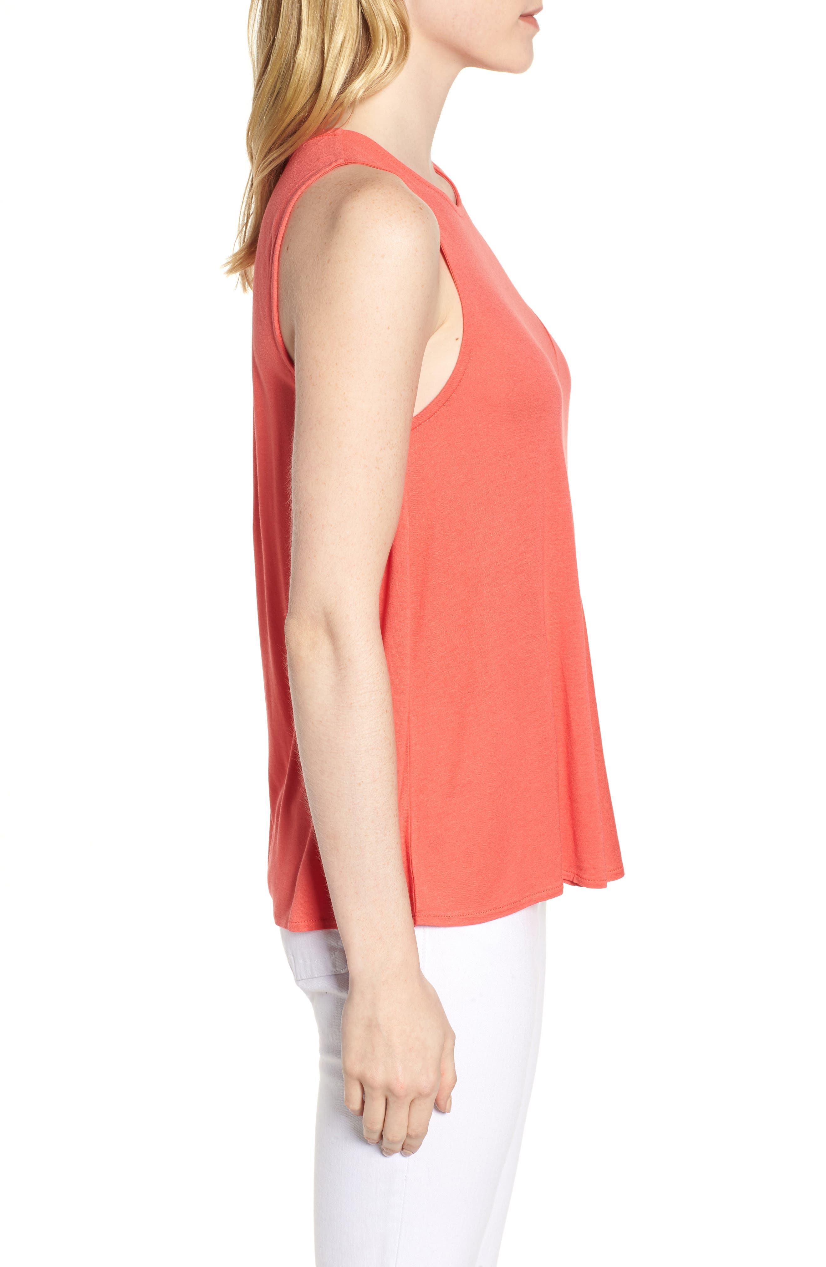 J.Crew Pleated Swing Tank Top,                             Alternate thumbnail 3, color,                             Coral