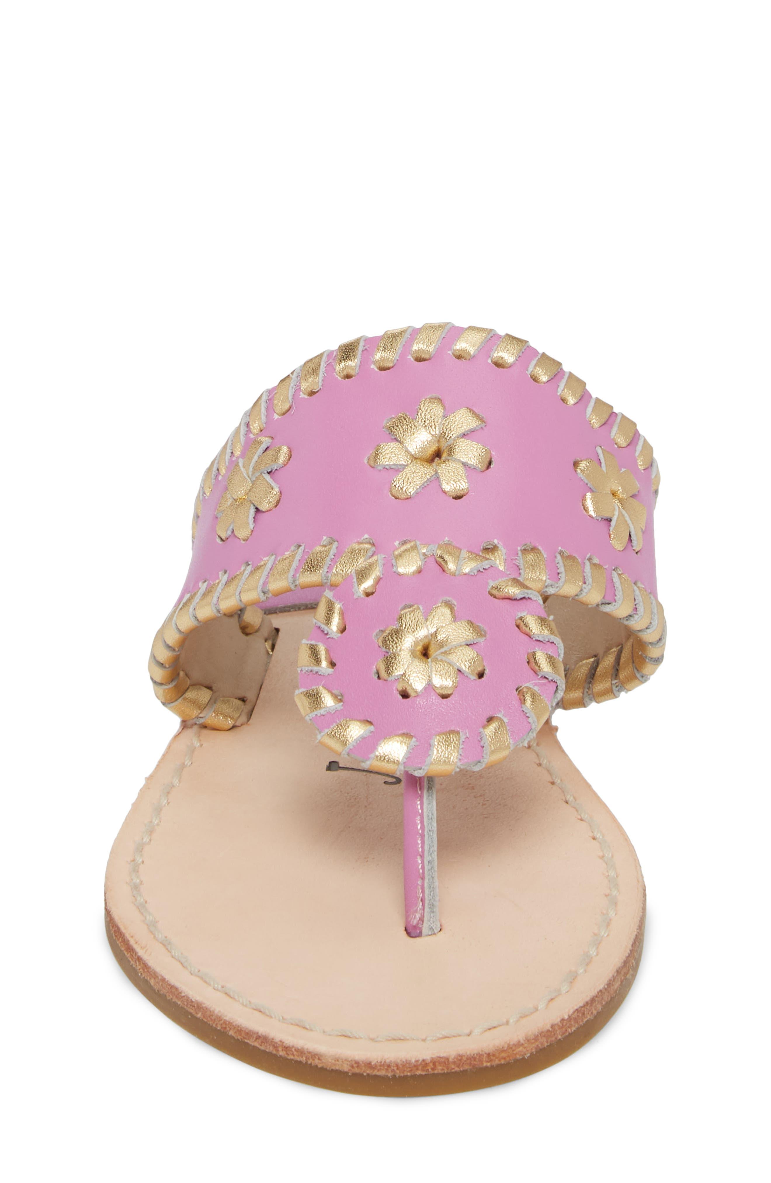 Miss Hollis Metallic Trim Thong Sandal,                             Alternate thumbnail 4, color,                             Lavender Pink/ Gold Leather